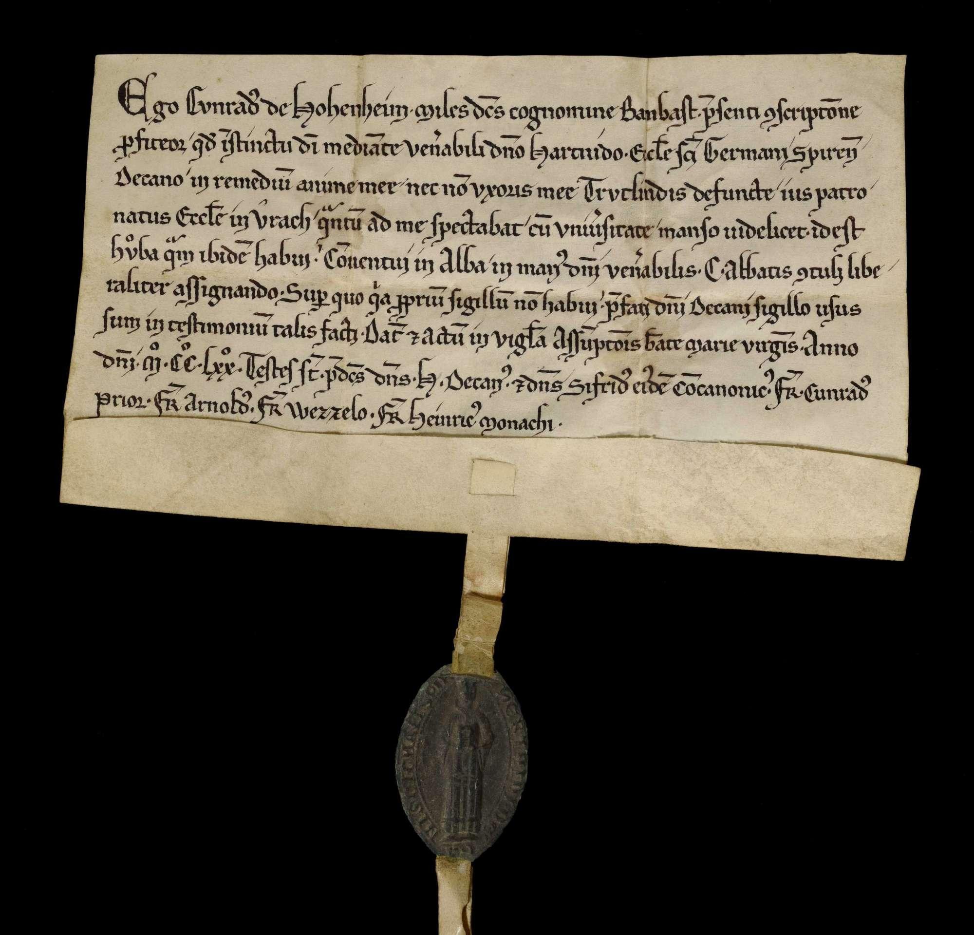 Ritter Konrad von Hohenheim genannt Bombast schenkt um seines und seiner verstorbenen Gattin Trutlinde Seelenheils willen das Patronatrecht der Kirche in Aurich und eine Hube daselbst an Abt Konrad und Konvent von Herrenalb., r
