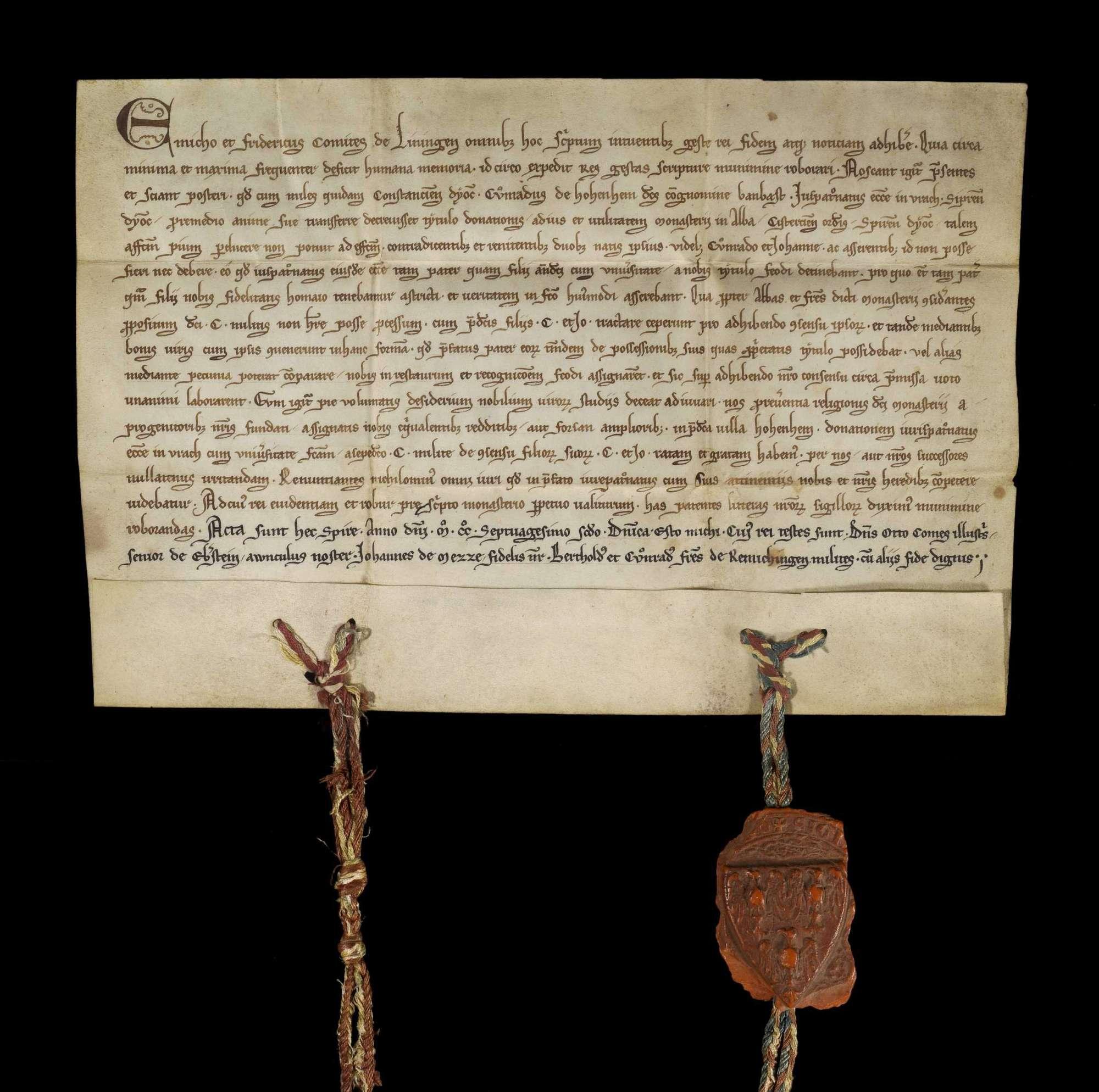Die Grafen Emich und Friedrich von Leiningen bestätigen die durch Konrad von Hohenheim genannt Banbast mit Einwilligung seiner Söhne Konrad und Johann geschehene Schenkung des Patronatrechts der Kirche zu Aurich an das Kloster Herrenalb., r