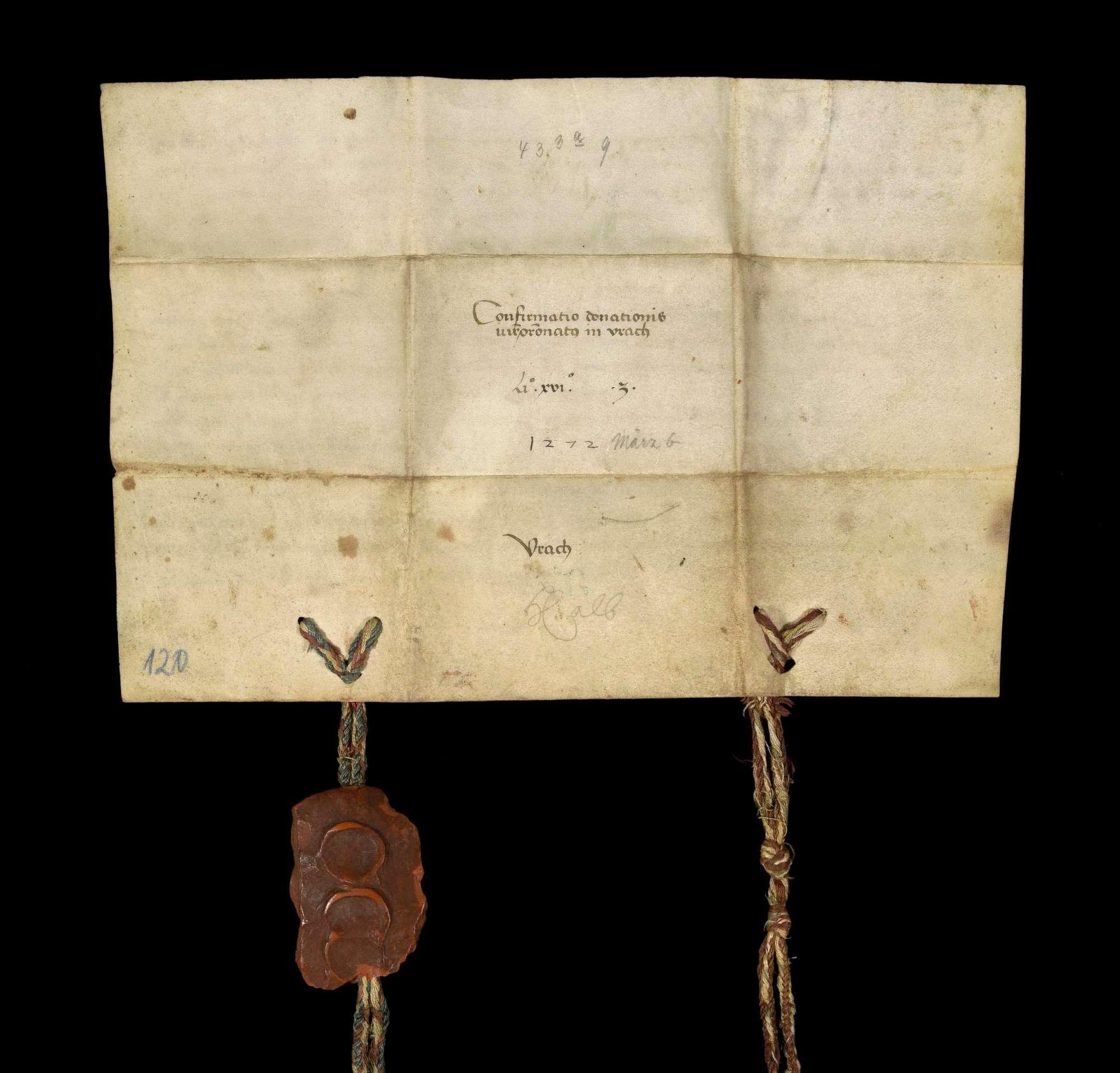 Die Grafen Emich und Friedrich von Leiningen bestätigen die durch Konrad von Hohenheim genannt Banbast mit Einwilligung seiner Söhne Konrad und Johann geschehene Schenkung des Patronatrechts der Kirche zu Aurich an das Kloster Herrenalb., v