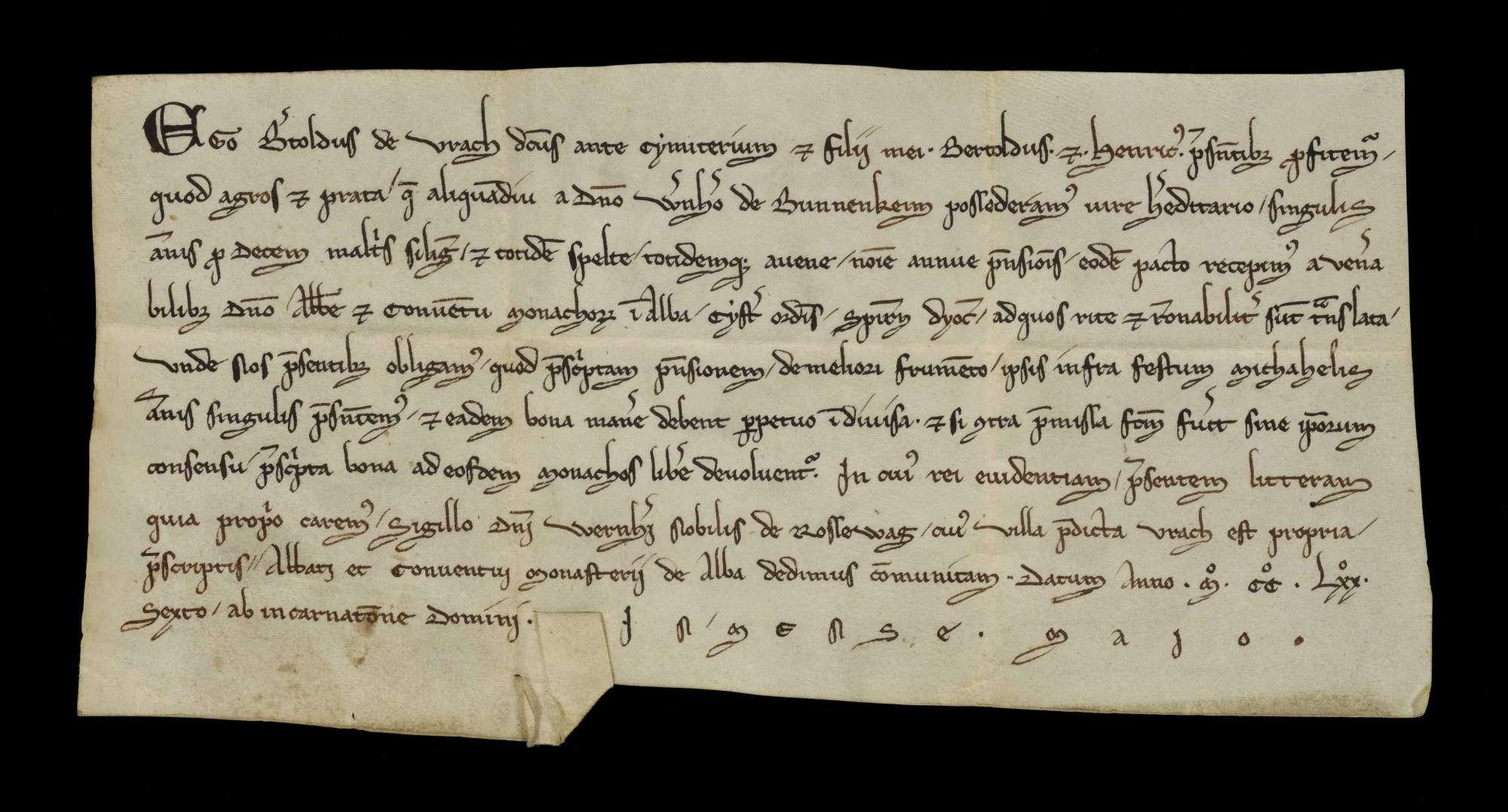 Berthold von Aurich, genannt vor dem Kirchhof, und seine Söhne Berthold und Heinrich bekennen, dass sie die Äcker und Wiesen, die sie seither von Werner von Bönnigheim nach Erbrecht besaßen, nunmehr gegen denselben Jahreszins vom Kloster Herrenalb erhalten haben., r