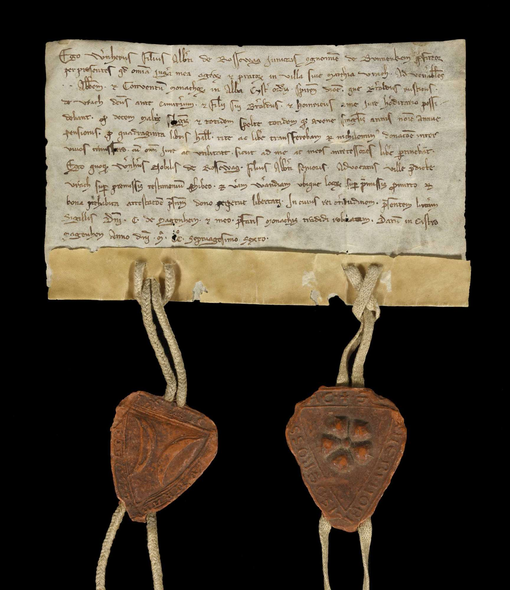 Werner, der Sohn Alberts des Jüngeren von Roßwag, genannt von Bönnigheim, verkauft dem Kloster Herrenalb alle seine Acker und Wiesen in Aurich., r