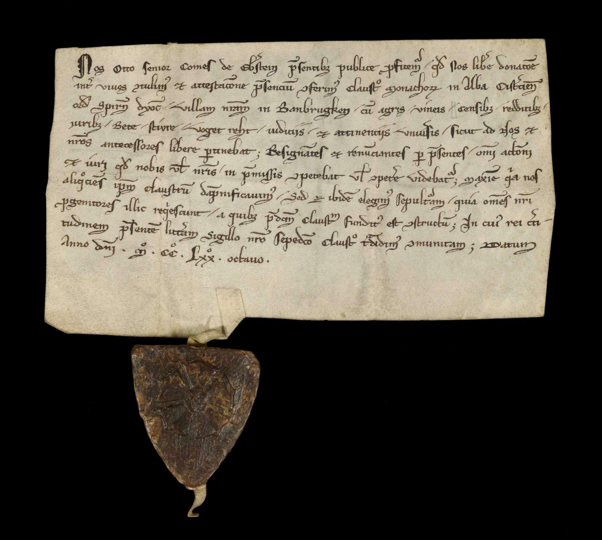 Graf Otto der Ältere von Eberstein schenkt dem Kloster Herrenalb sein Dorf Bahnbrücken mit aller Zugehörde als Schadensersatz und wählt seine Begräbnisstätte wie seine Vorfahren im Kloster., r