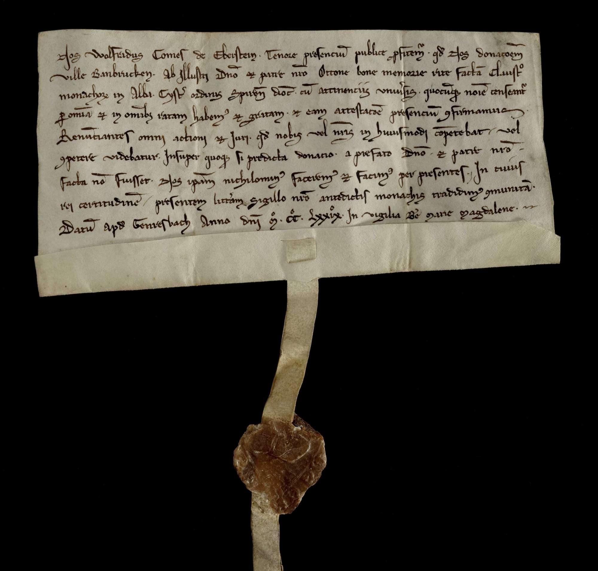 Graf Wolfrad von Eberstein bestätigt die Schenkung des Dorfs Bahnbrücken (Banbrucken) durch seinen verstorbenen Vater Otto an Kloster Herrenalb., r