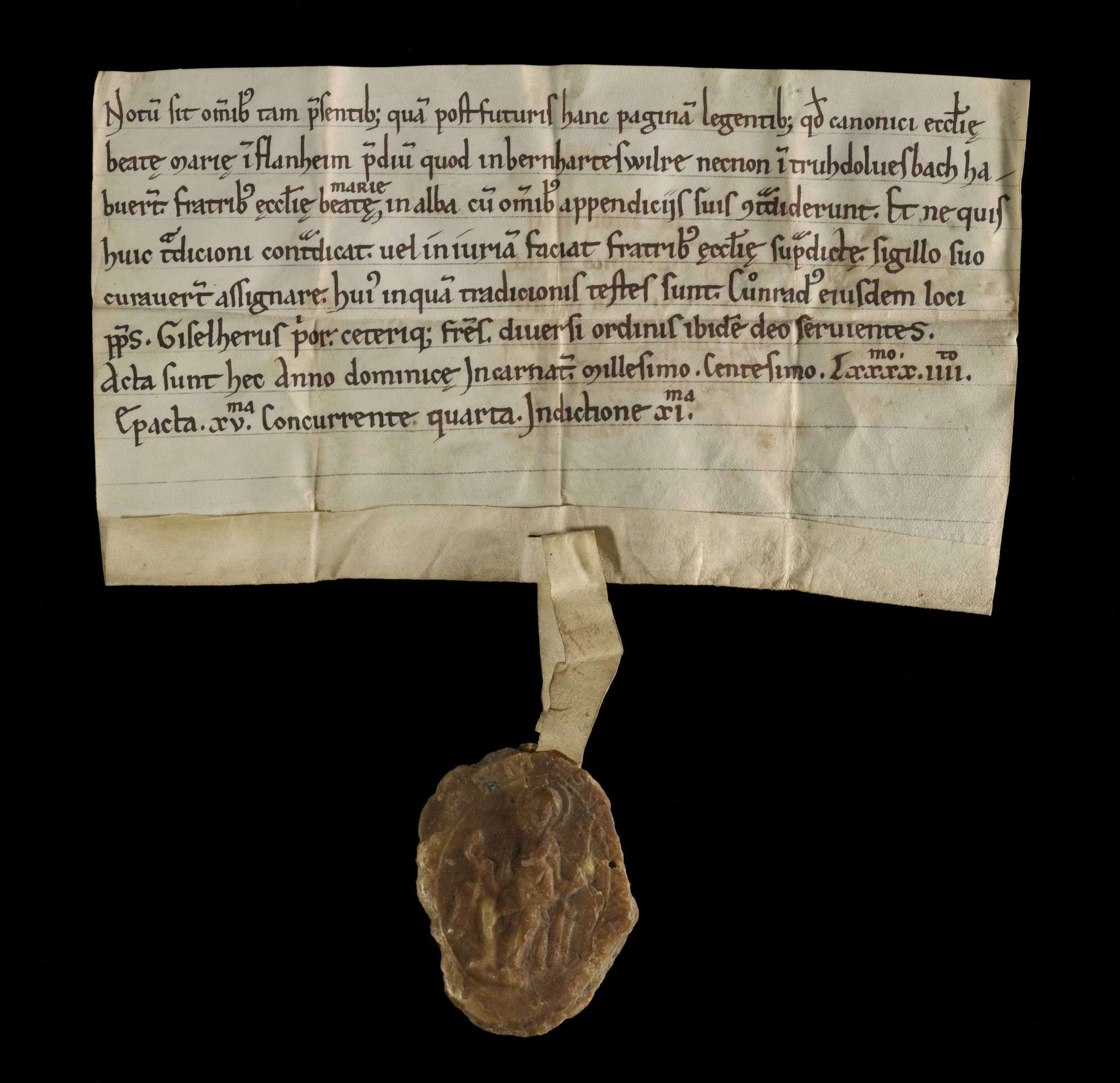 Das Stift Flonheim überlässt ein Gut in Bernhardsweiler und Truhdolvesbach an das Kloster Herrenalb., r