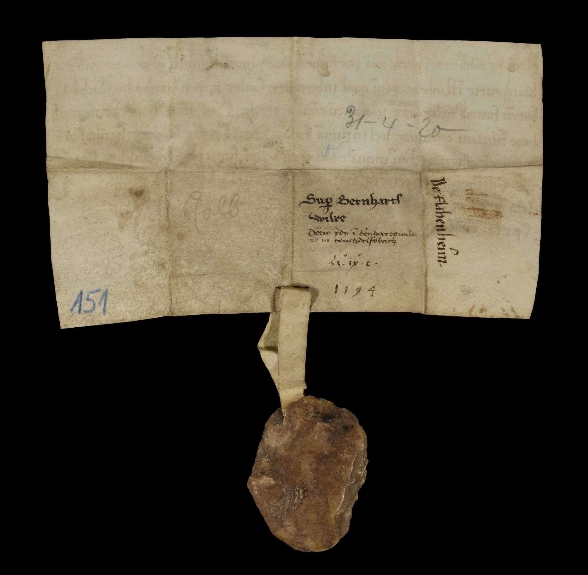 Das Stift Flonheim überlässt ein Gut in Bernhardsweiler und Truhdolvesbach an das Kloster Herrenalb., v