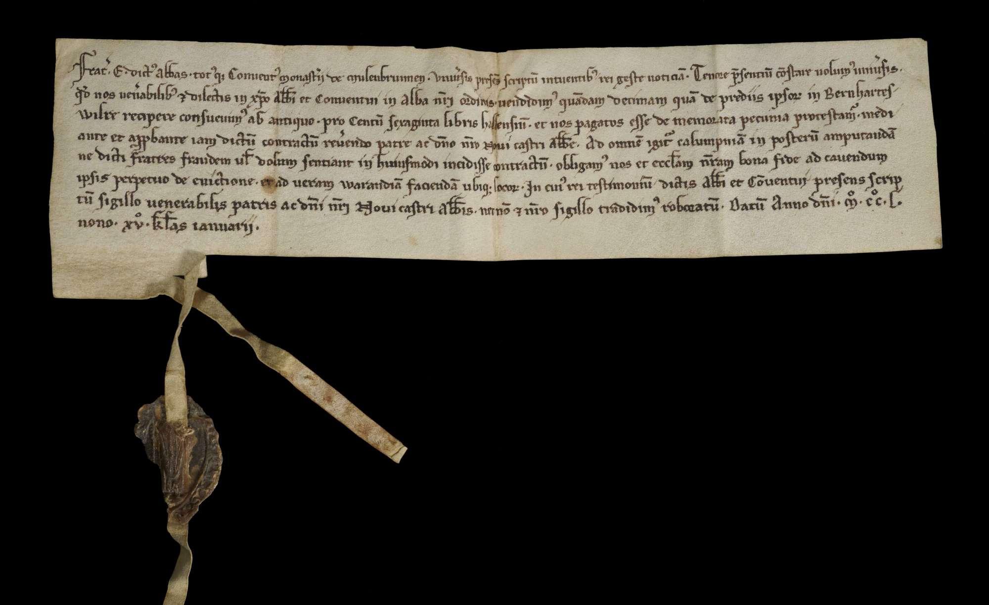 Abt Egenhard und Konvent von Maulbronn verkaufen unter Zustimmung des Abtes von Neuburg einen Zehnten in Bernhardsweiler um 160 Pfund Heller an Abt und Konvent von Herrenalb., r