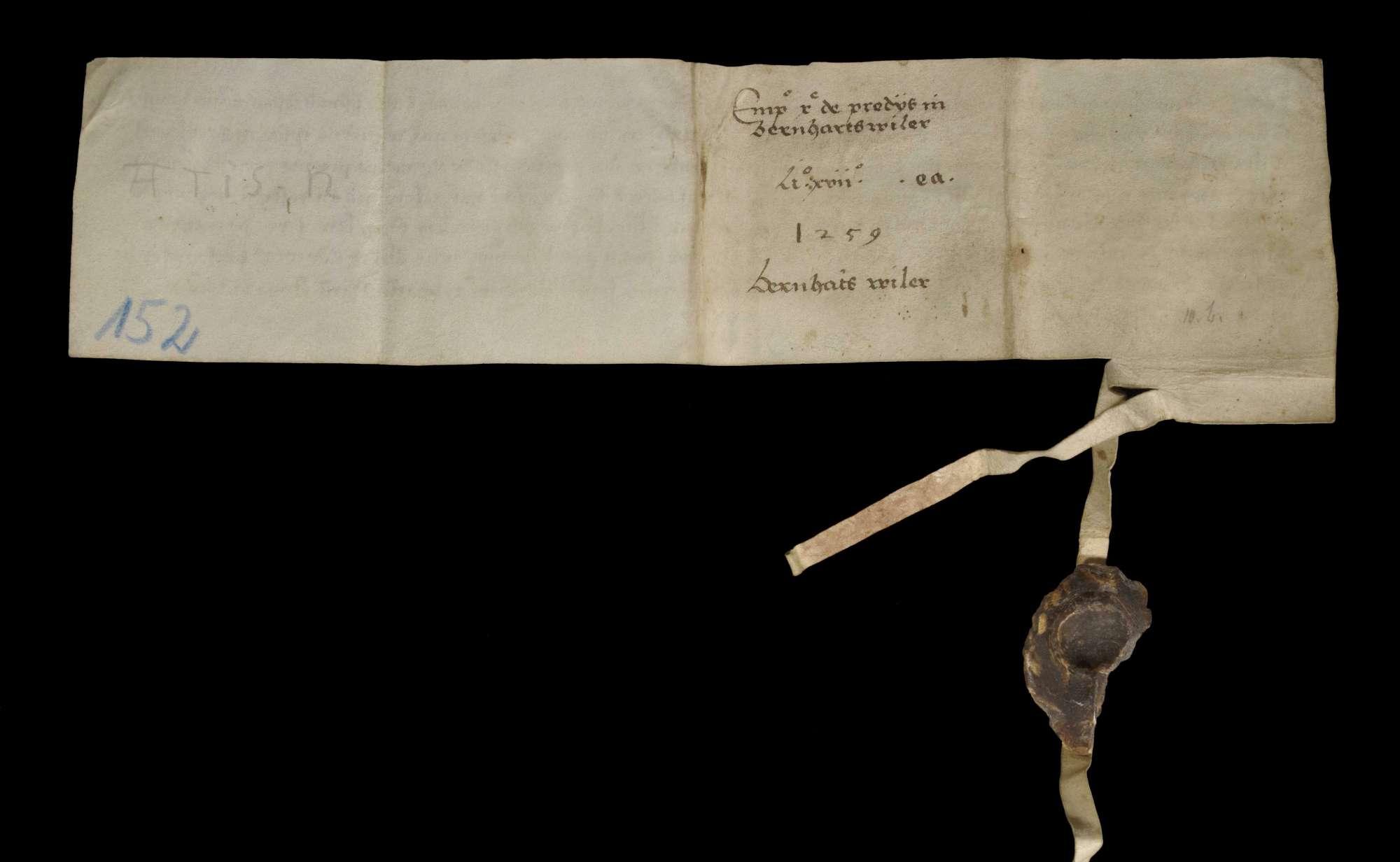 Abt Egenhard und Konvent von Maulbronn verkaufen unter Zustimmung des Abtes von Neuburg einen Zehnten in Bernhardsweiler um 160 Pfund Heller an Abt und Konvent von Herrenalb., v