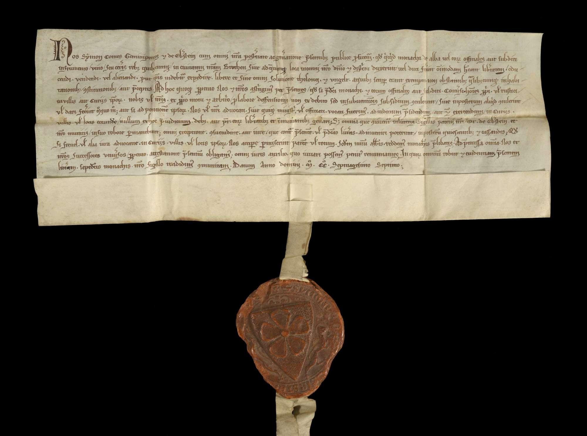 Graf Simon von Zweibrücken und Eberstein befreit das Kloster Herrenalb von allem Zoll und Umgeld in Bretten und seiner ganzen Herrschaft und erneuert die von seinem Oheim Otto von Eberstein und ihm selbst verliehenen Freiheiten desselben., r
