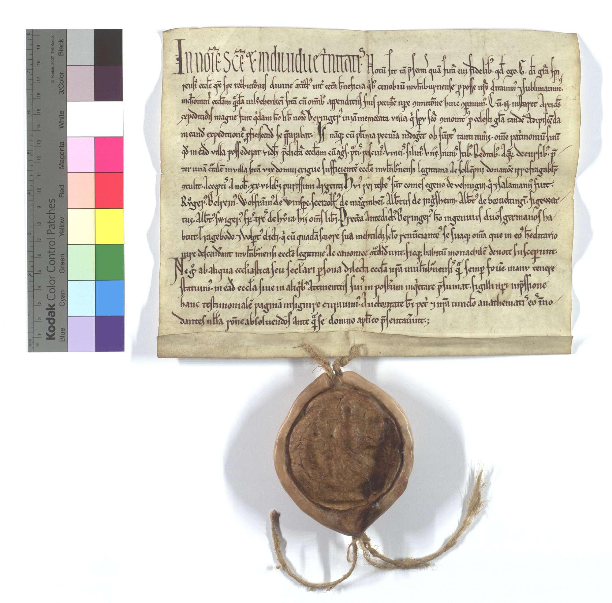 Bischof Günther von Speyer kauft für das Kloster Maulbronn die Kirche in Löchgau (Luochekein)., Text