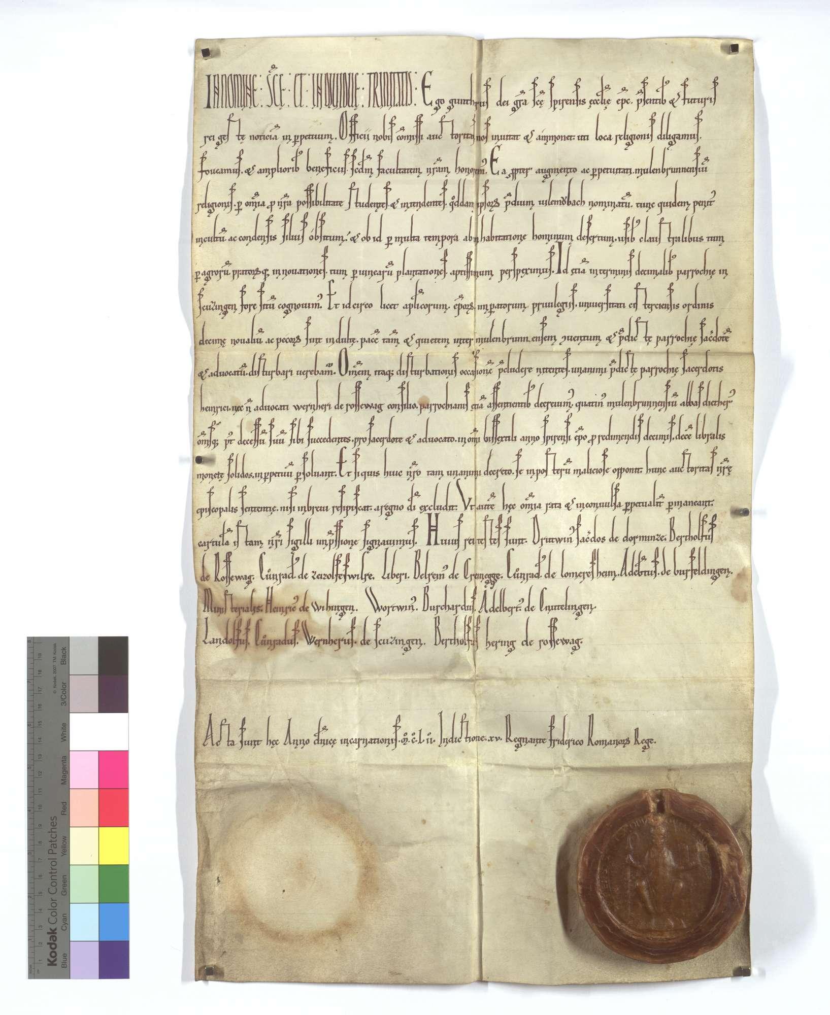 Bischof Günther von Speyer verordnet, dass das Kloster Maulbronn aus seinem in den Pfarrzehentbezirk von Schützingen gehörigen Hof Füllmenbach statt des Zehenten alle Schaltjahre eine genannte Geldabgabe zur Entschädigung der Berechtigten entrichten solle., Text