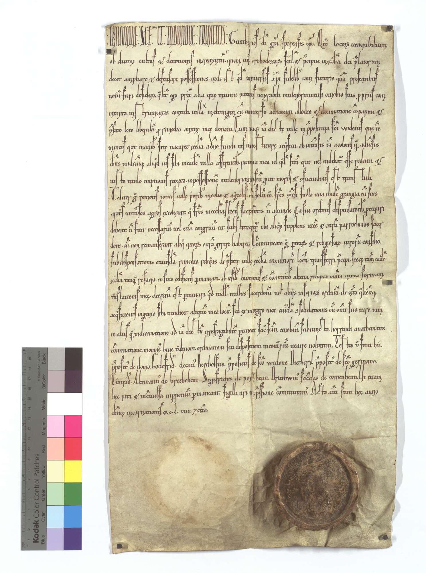 Bischof Günther von Speyer erwirbt und übergibt den Elfinger (Elvingen) Hof unter Aufhebung des dortigen Kirchendienstes dem Kloster Maulbronn., Text