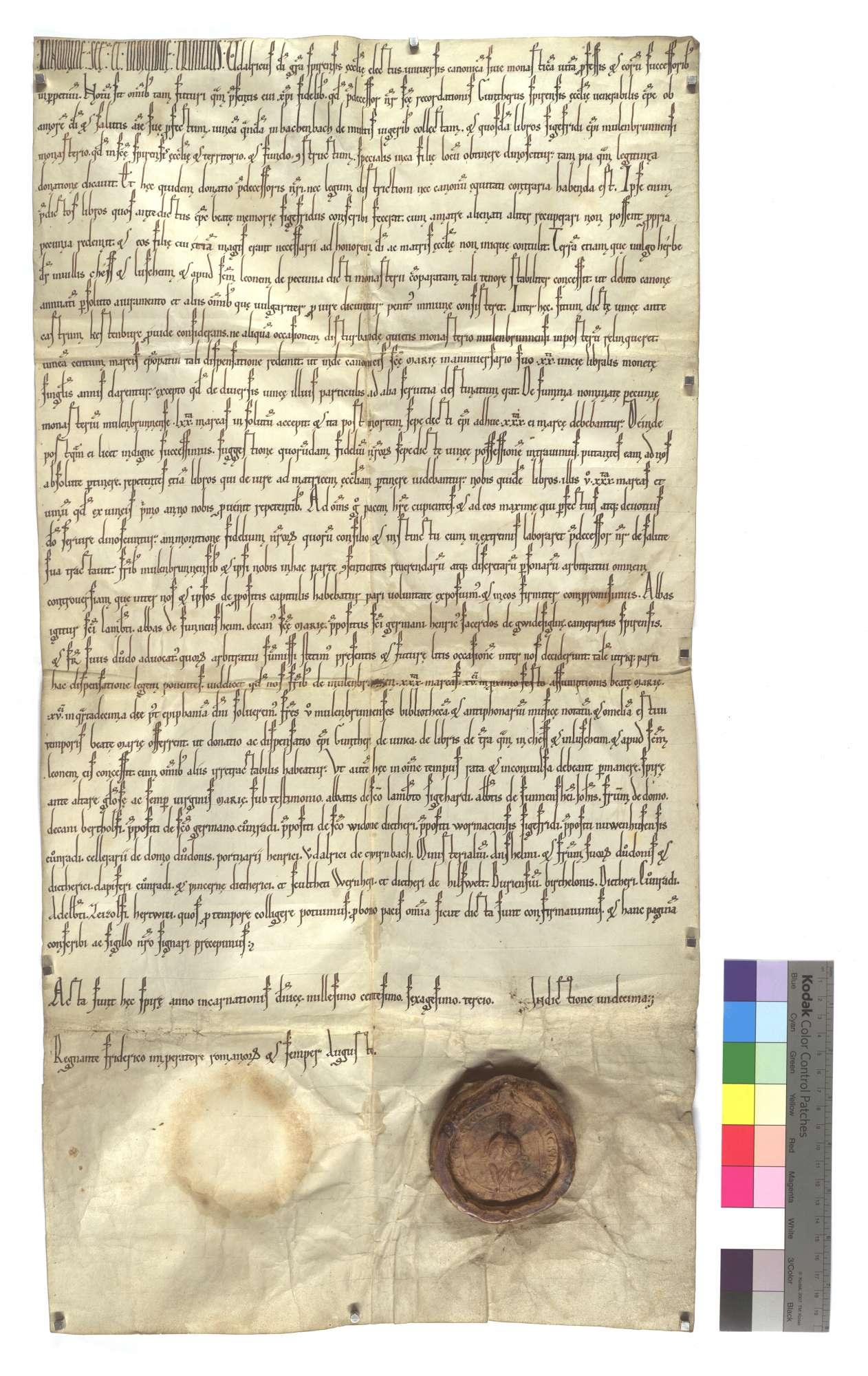 Ulrich, erwählter Bischof von Speyer, genehmigt einen schiedsrichterlichen Spruch über eine von ihm angefochtene, in Büchern und genannten Gütern in Hachenbach, Ketsch und Lußheim bestehende Schenkung seines Vorgängers Günther an das Kloster Maulbronn., Text