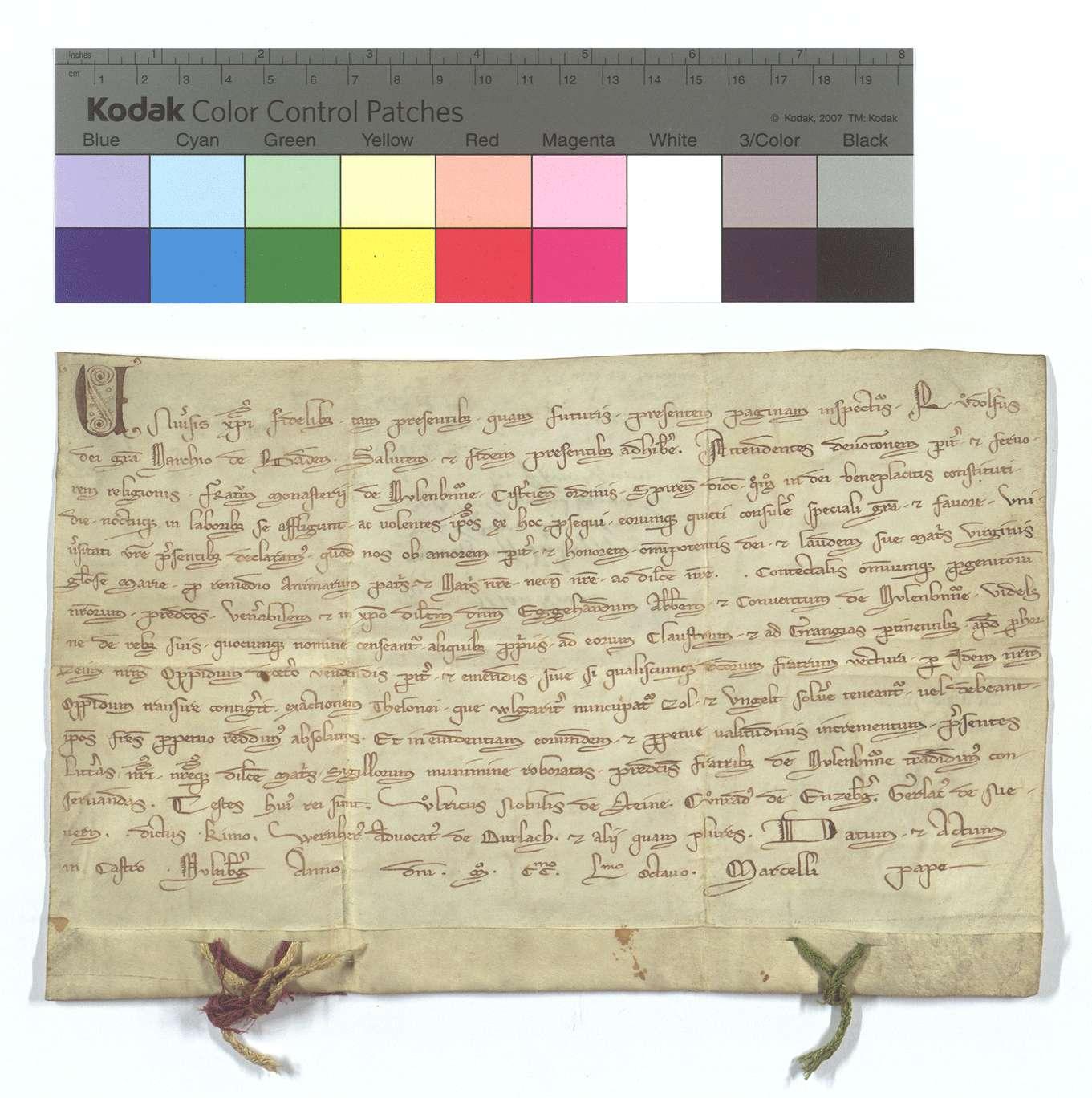 Markgraf Rudolf von Baden befreit den Abt Eggehard und Konvent von Maulbronn von Entrichtung des Zolls und Ungeldes in Pforzheim., Text