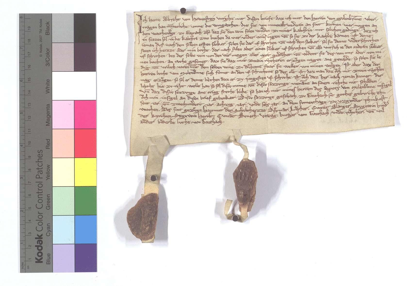 Albrecht von Hohenstein (Howenstein) beurkundet seine Einigung mit Kloster Maulbronn wegen einiger Weinberge in [Gross-]Gartach., Text