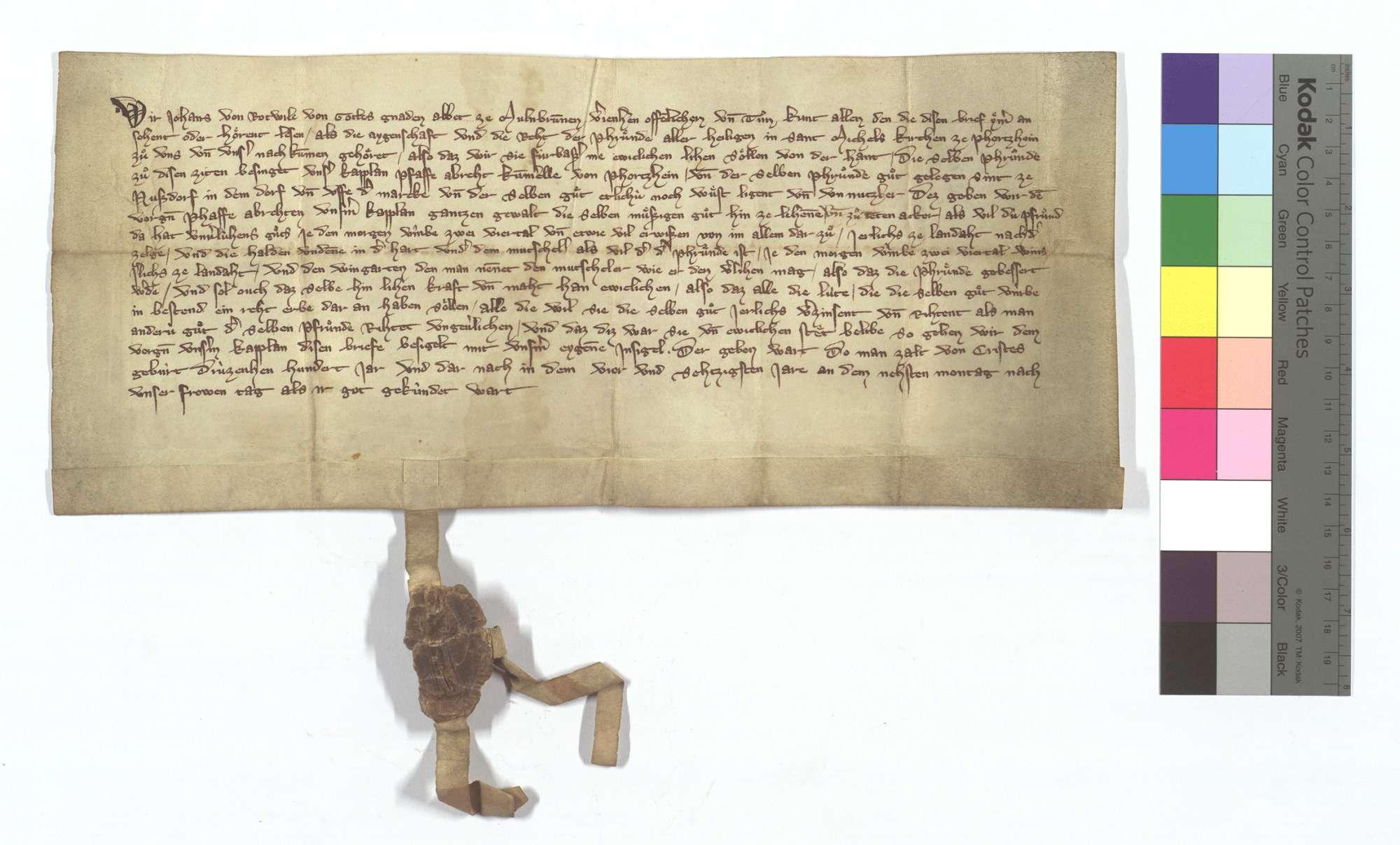 Abt Johann von Rottweil (Rotwile) von Maulbronn erlaubt dem Kaplan des Allerheiligenaltars in der Kirche St. Michael in Pforzheim, derselben Güter in Nußdorf zu verleihen., Text