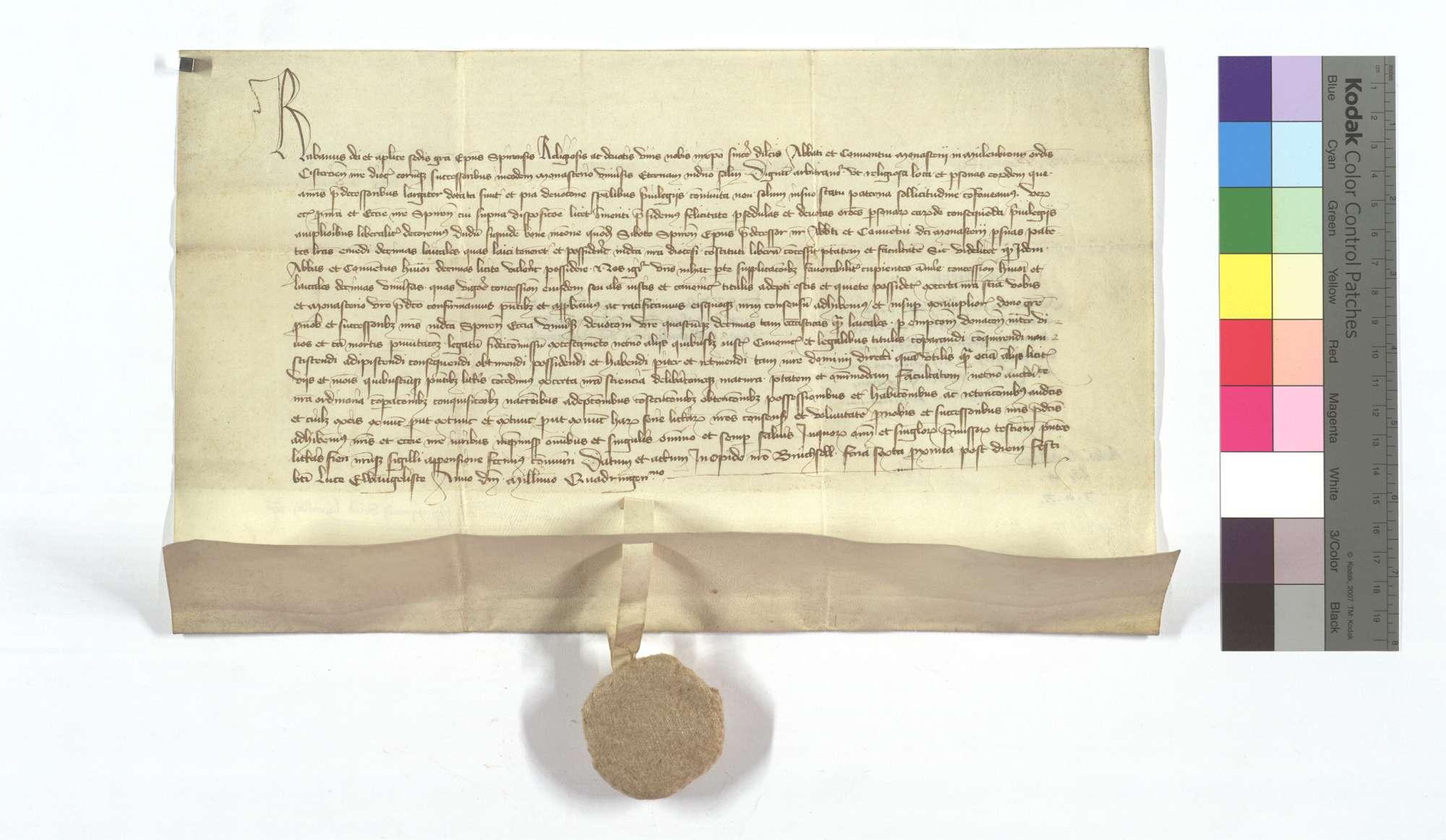 Bischof Raban von Speyer bestätigt seines Vorgängers, Bischof Sibotho, dem Kloster Maulbronn erteilte Freiheit, Laienzehnte an sich zu bringen., Text
