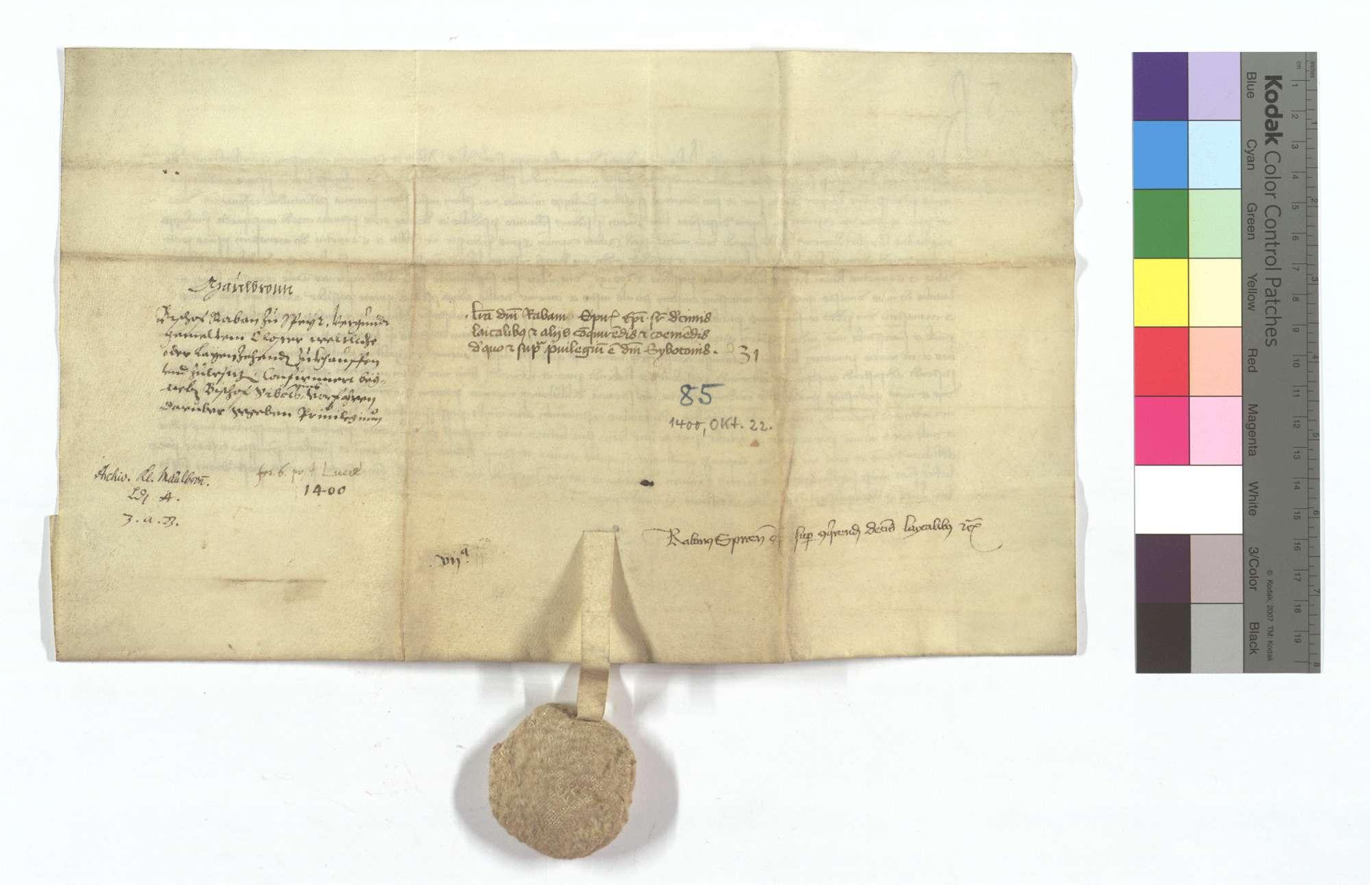 Bischof Raban von Speyer bestätigt seines Vorgängers, Bischof Sibotho, dem Kloster Maulbronn erteilte Freiheit, Laienzehnte an sich zu bringen., Rückseite