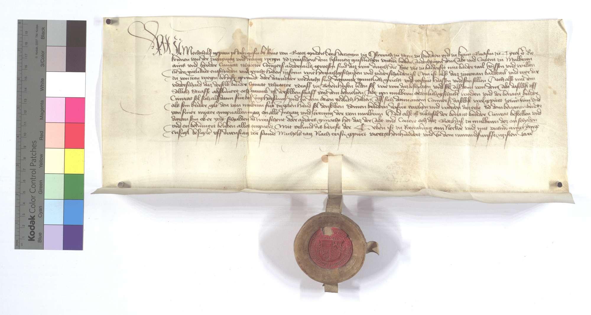 Vereinbarung (Richtung) zwischen dem Kloster Maulbronn und Conrad Schroeter, einem Conversen desselben [Klosters], wegen dessen Bestrafung., Text