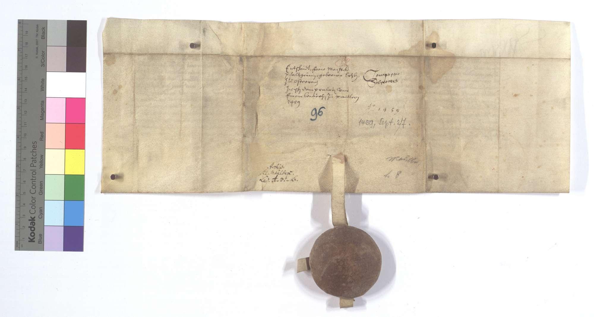 Vereinbarung (Richtung) zwischen dem Kloster Maulbronn und Conrad Schroeter, einem Conversen desselben [Klosters], wegen dessen Bestrafung., Rückseite