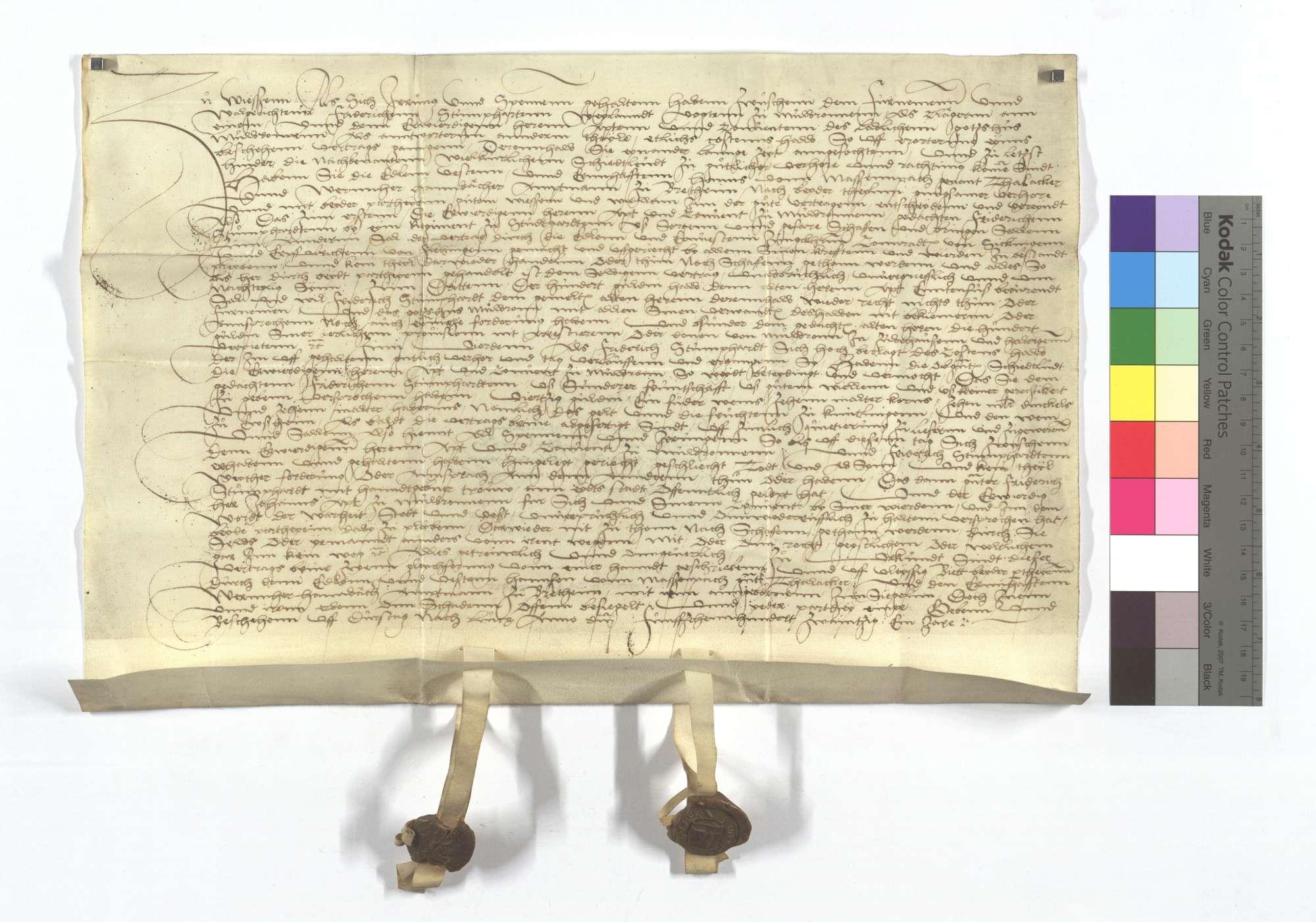 Vertrag zwischen dem Kloster Maulbronn und dem zwischen Vogt Stumphardt dort wegen etlichen auf die Erörterung eines alten Vertrags gegangenen Kosten., Text