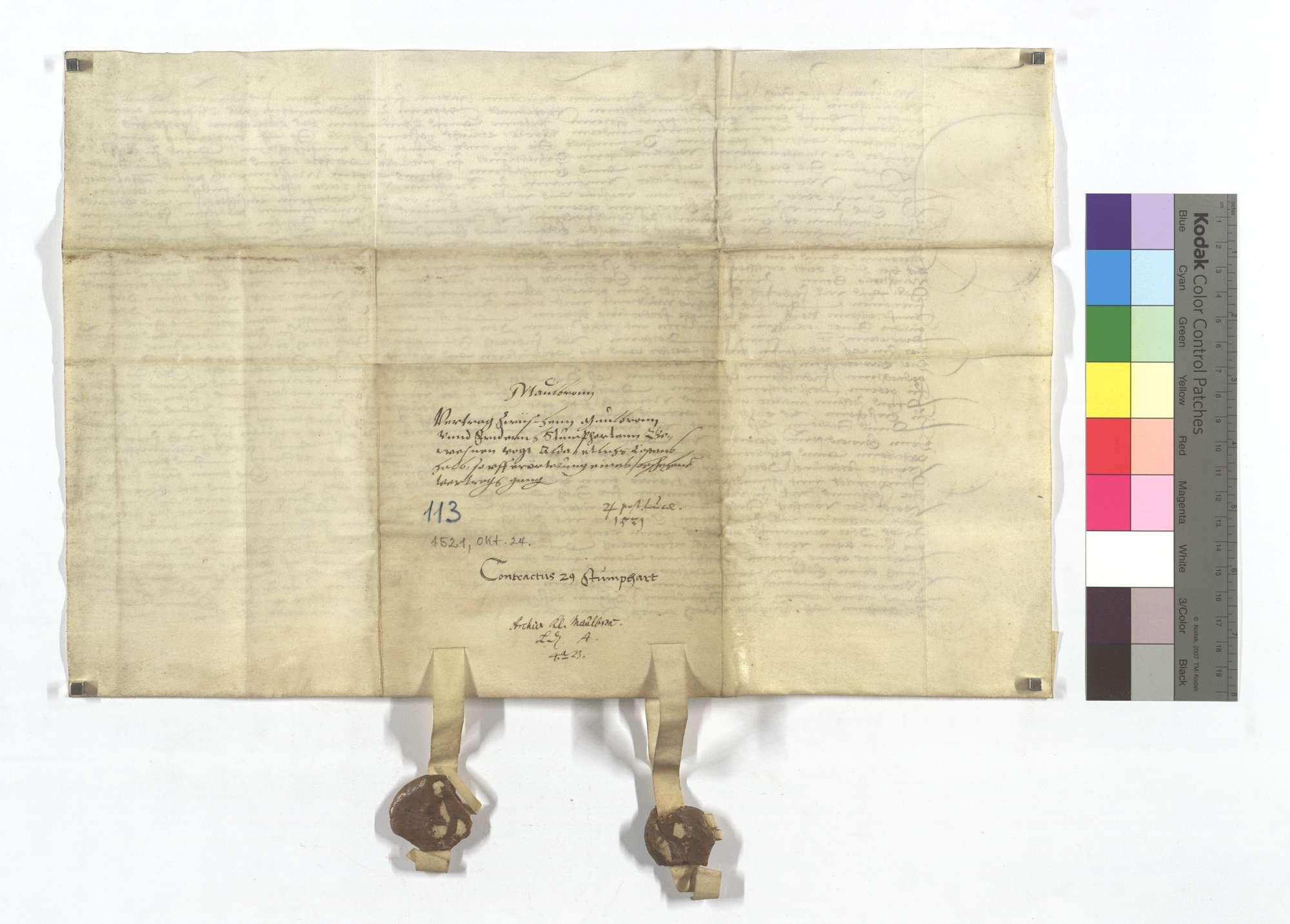 Vertrag zwischen dem Kloster Maulbronn und dem zwischen Vogt Stumphardt dort wegen etlichen auf die Erörterung eines alten Vertrags gegangenen Kosten., Rückseite