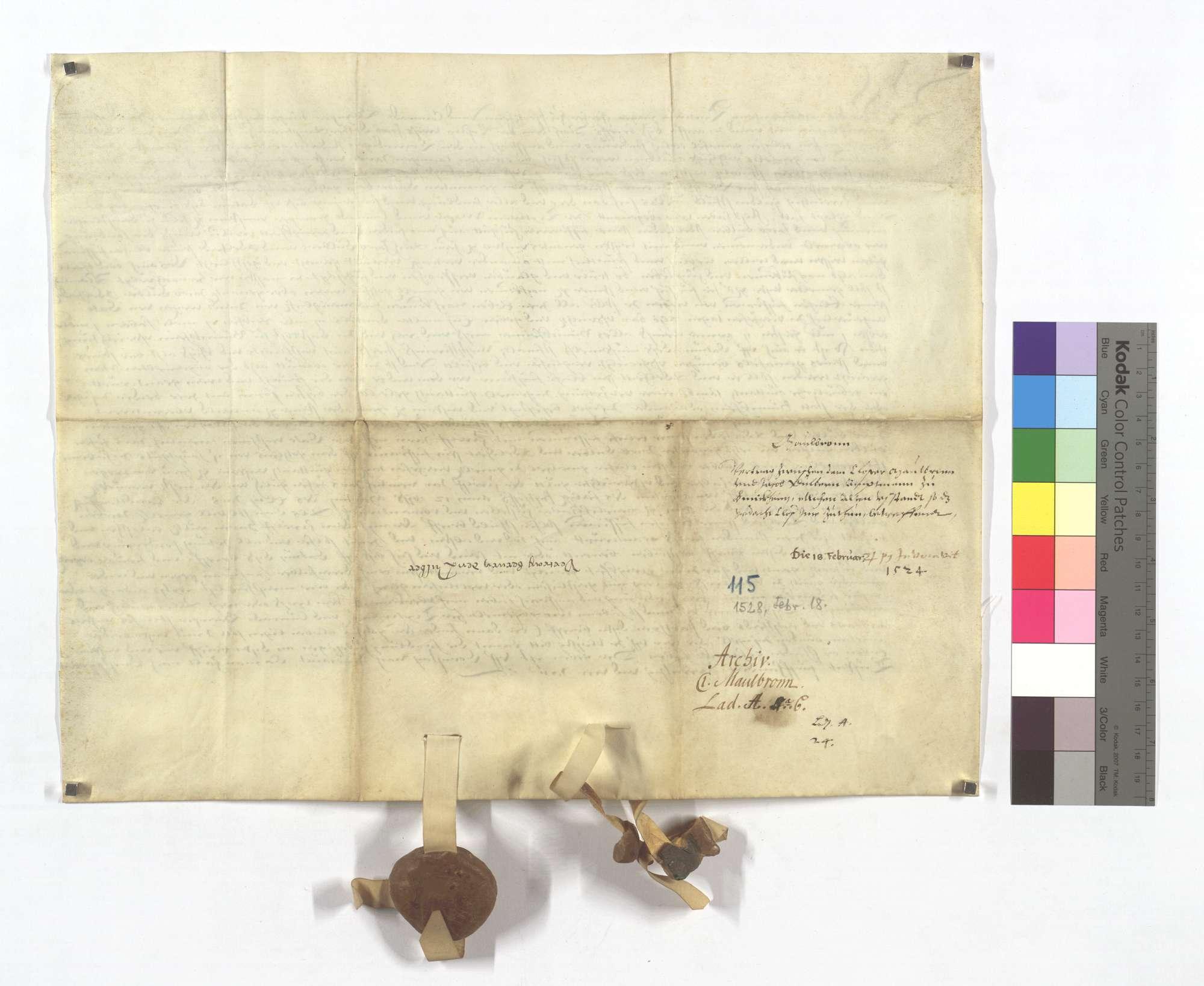 Vertrag zwischen dem Kloster Maulbronn und Jacob Dulber, dem Amtmann zu Bönnigheim, wegen etlicher alter Ausstände, die das Kloster ihm zu tun schuldig sei., Rückseite