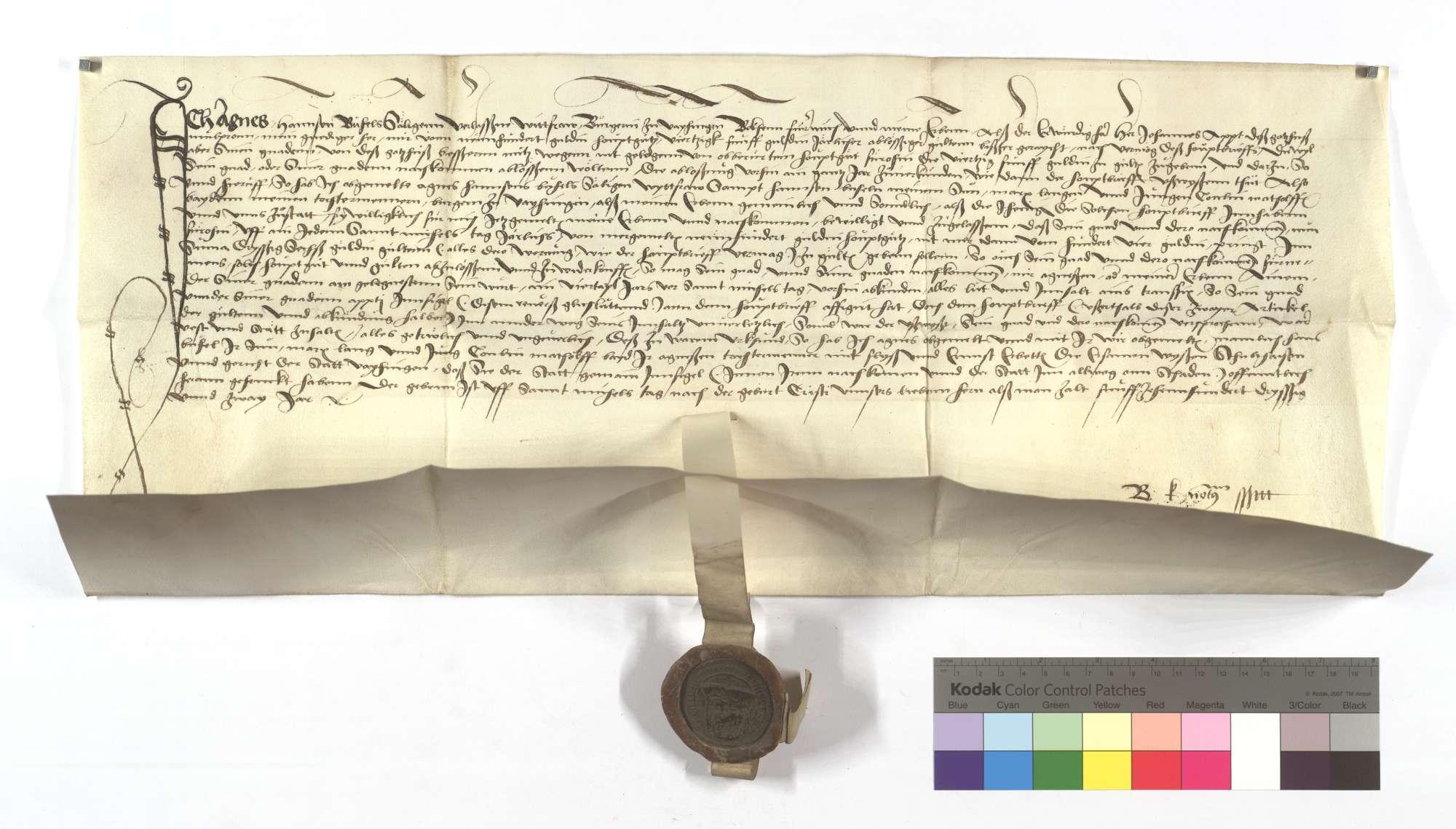 Verschreibung von Agnes, Hans Bühels Witwe, in der sie dem Kloster Maulbronn an den ihr aus einem Hauptgut von 900 Gulden schuldigen Zinsen von 75 Gulden jährlich 9 Gulden nachgelassen hat., Text