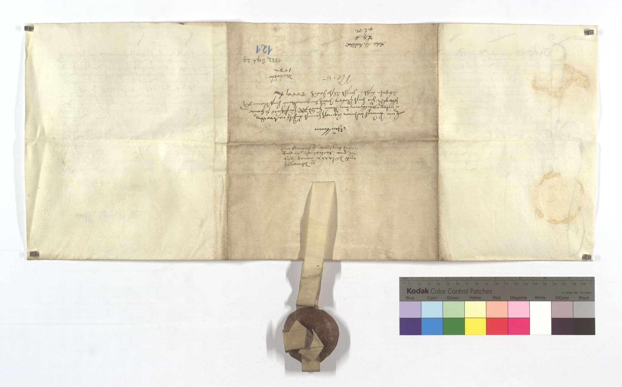 Verschreibung von Agnes, Hans Bühels Witwe, in der sie dem Kloster Maulbronn an den ihr aus einem Hauptgut von 900 Gulden schuldigen Zinsen von 75 Gulden jährlich 9 Gulden nachgelassen hat., Rückseite