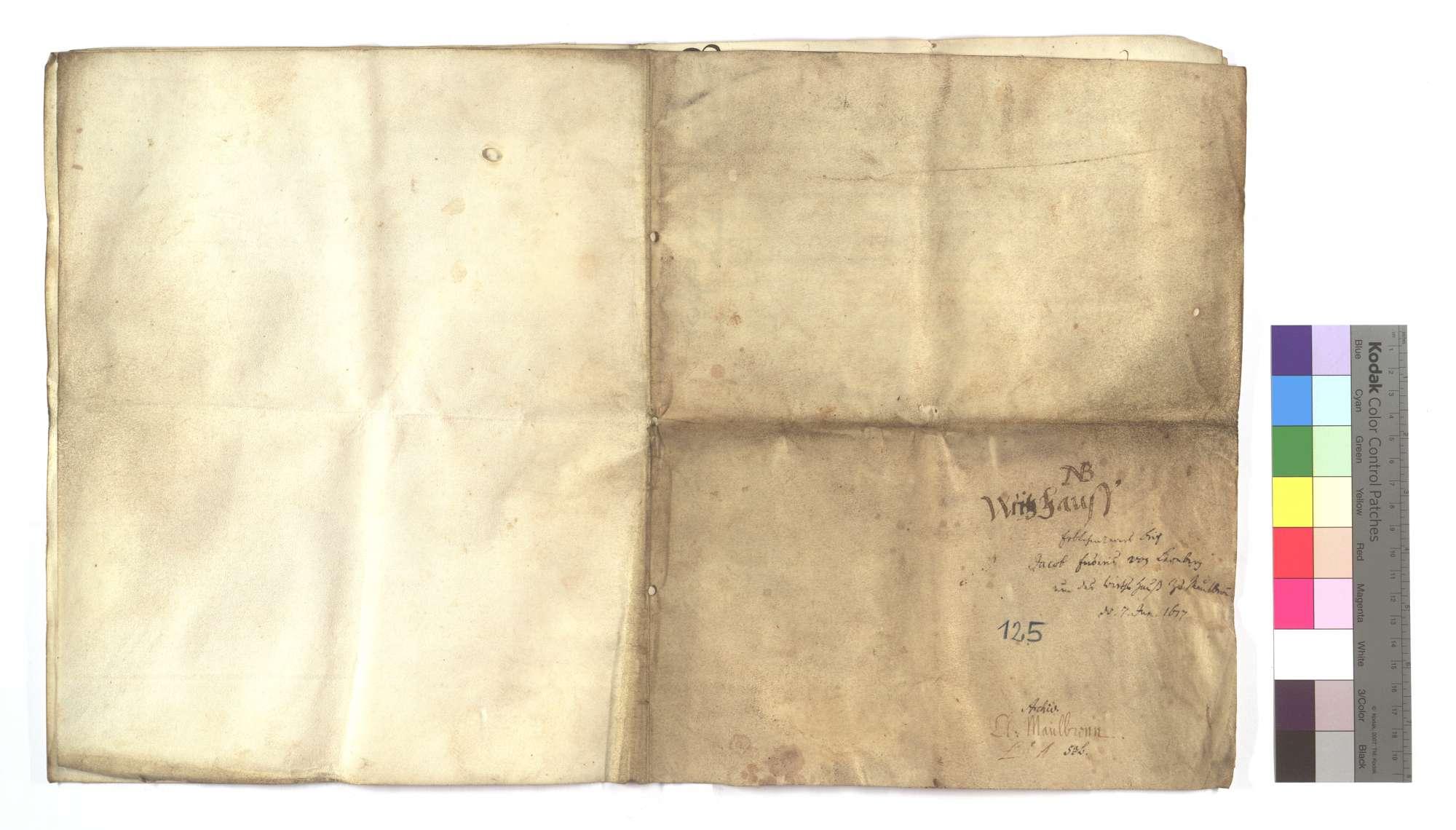Erblehensrevers Jakob Endris von Leonberg um die Gastherberge von Maulbronn vor dem Kloster., Bild 1