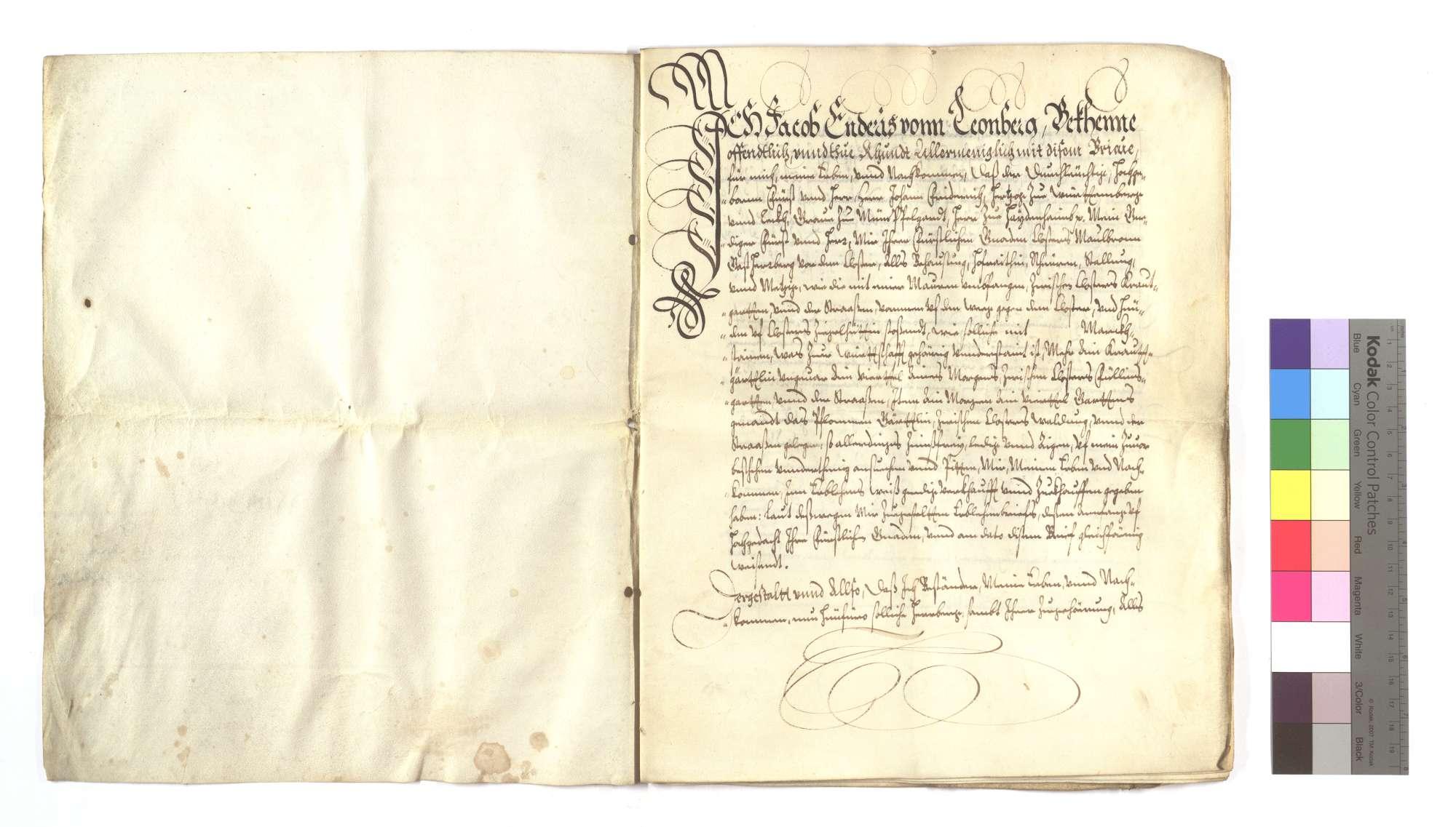 Erblehensrevers Jakob Endris von Leonberg um die Gastherberge von Maulbronn vor dem Kloster., Bild 2
