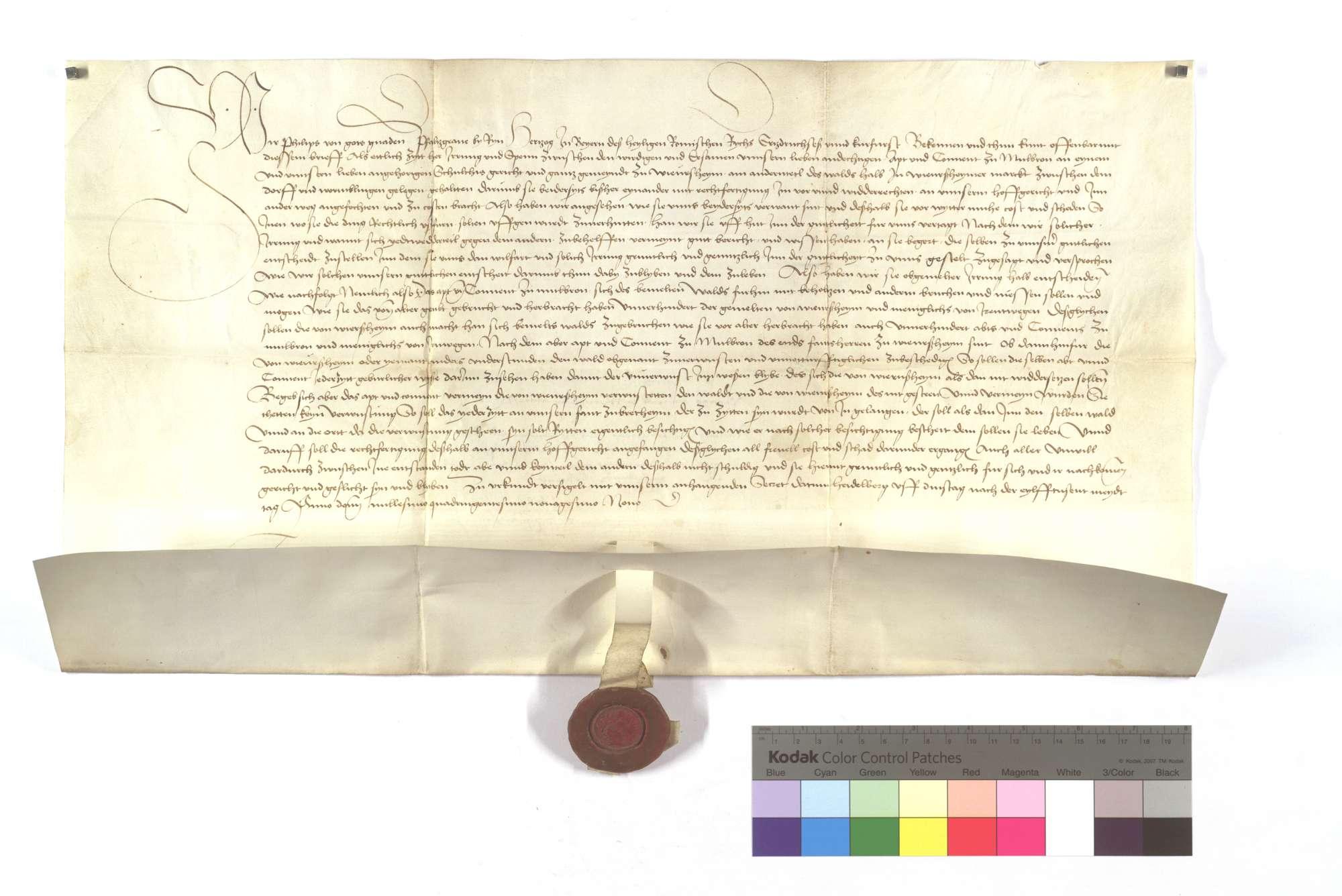 Kurfürst Philipps von der Pfalz Entscheid zwischen dem Kloster Maulbronn und der Kommune Wiernsheim wegen des Waldes in Wiernsheimer Markung zwischen dem Dorf und Wurmberg., Text