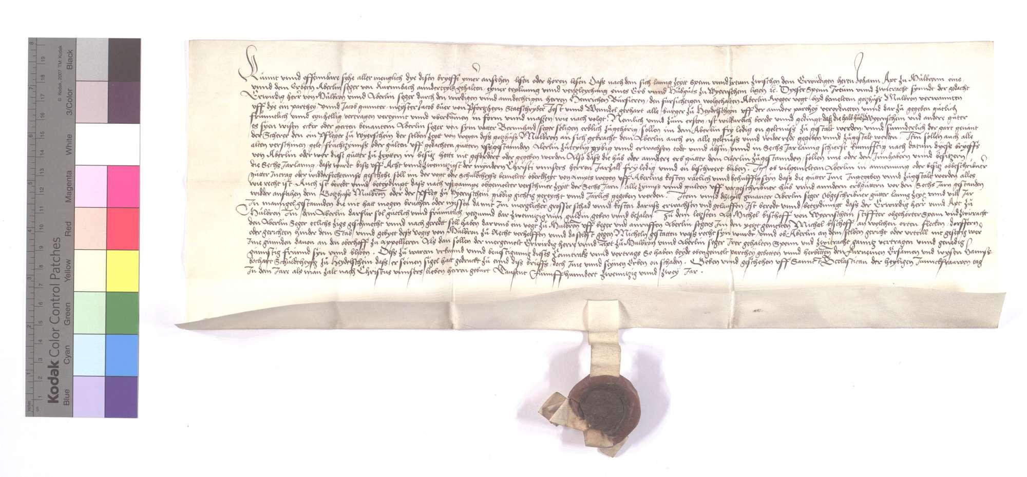 Vertrag zwischen dem Kloster Maulbronn und Aberlin Seger von Kürnbach (Kurimbach) wegen der Teilung und Vergleichung eines Hubgutes (Huobguts) in Wiernsheim., Text