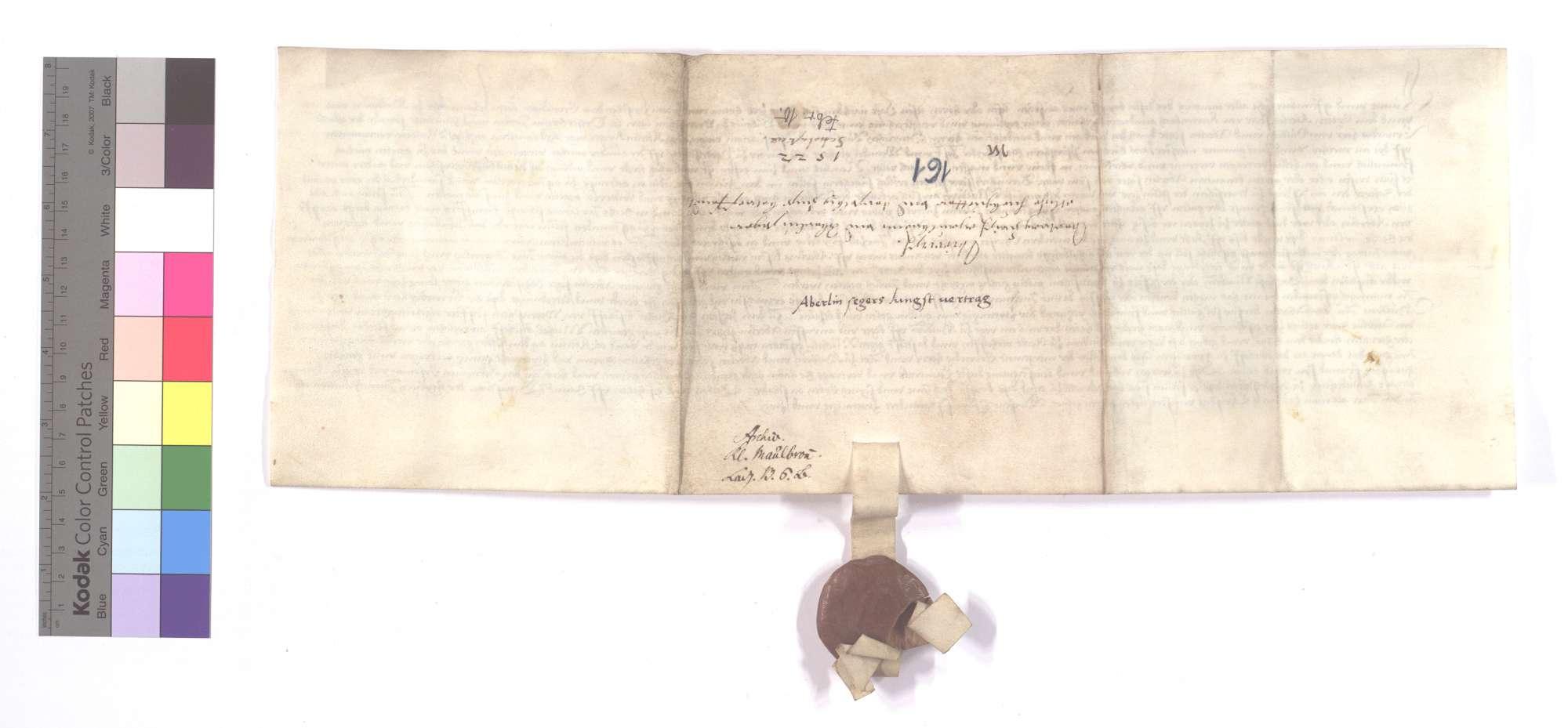 Vertrag zwischen dem Kloster Maulbronn und Aberlin Seger von Kürnbach (Kurimbach) wegen der Teilung und Vergleichung eines Hubgutes (Huobguts) in Wiernsheim., Rückseite