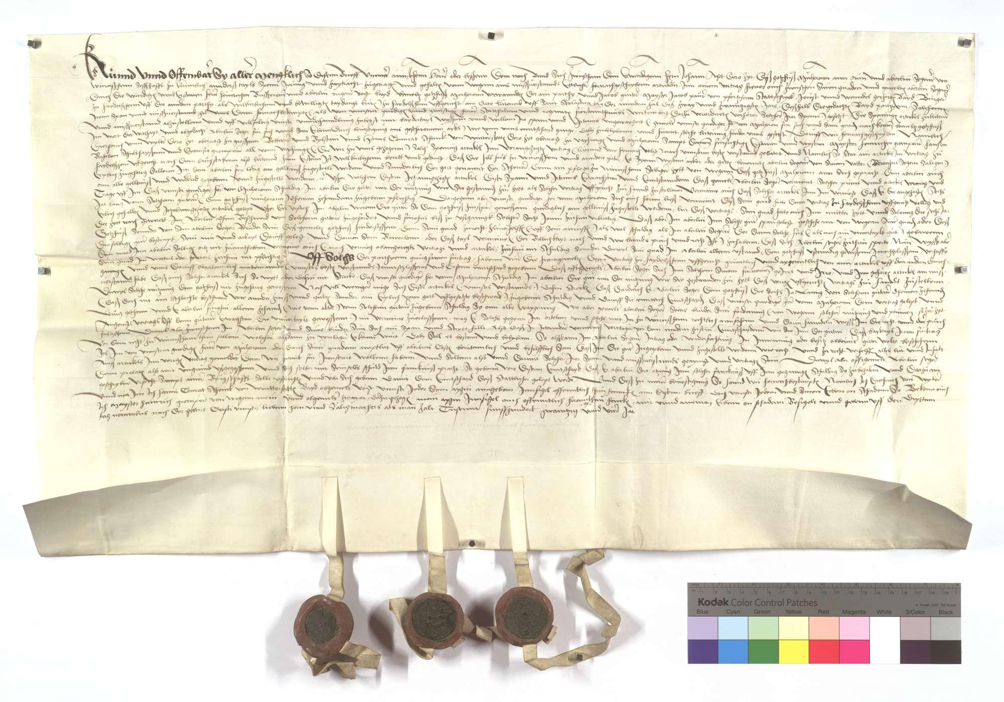 Vertrag zwischen dem Kloster Maulbronn und Aberlin Seger von Kürnbach wegen des Zehnten und der Nutzung aus etlichen Hubgütern in Wiernsheim., Text