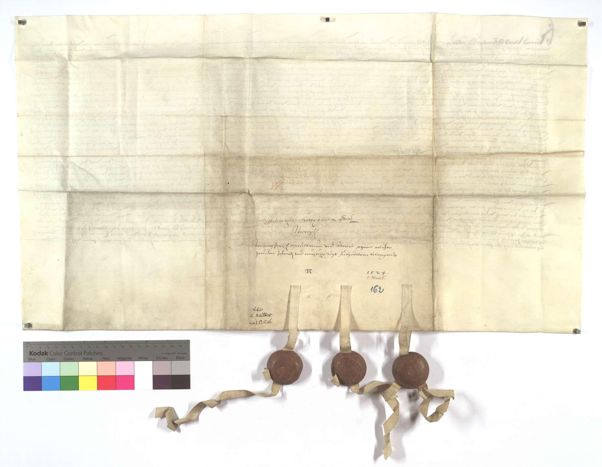 Vertrag zwischen dem Kloster Maulbronn und Aberlin Seger von Kürnbach wegen des Zehnten und der Nutzung aus etlichen Hubgütern in Wiernsheim., Rückseite