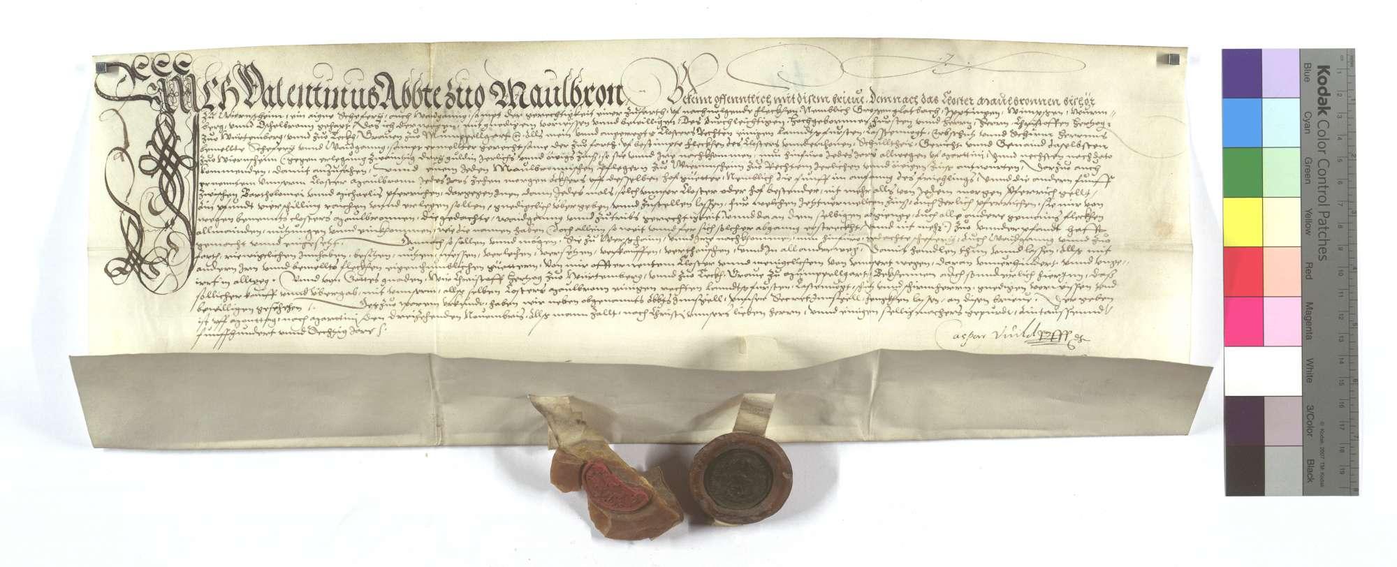 Lehensbrief des Abts von Maulbronn für die Kommune Wiernsheim um die Schäferei dort, samt der Gerechtigkeit einer Zufahrt nach Großglattbach (Großglappach), Iptingen, Wimsheim (Wimbsheim), Wurmberg und Öschelbronn (Eschelbronn)., Text
