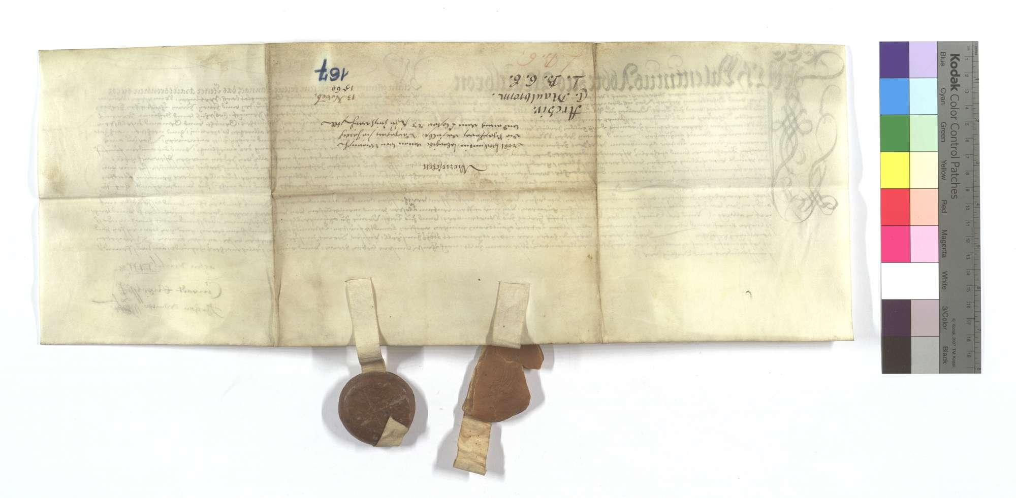 Lehensbrief des Abts von Maulbronn für die Kommune Wiernsheim um die Schäferei dort, samt der Gerechtigkeit einer Zufahrt nach Großglattbach (Großglappach), Iptingen, Wimsheim (Wimbsheim), Wurmberg und Öschelbronn (Eschelbronn)., Rückseite