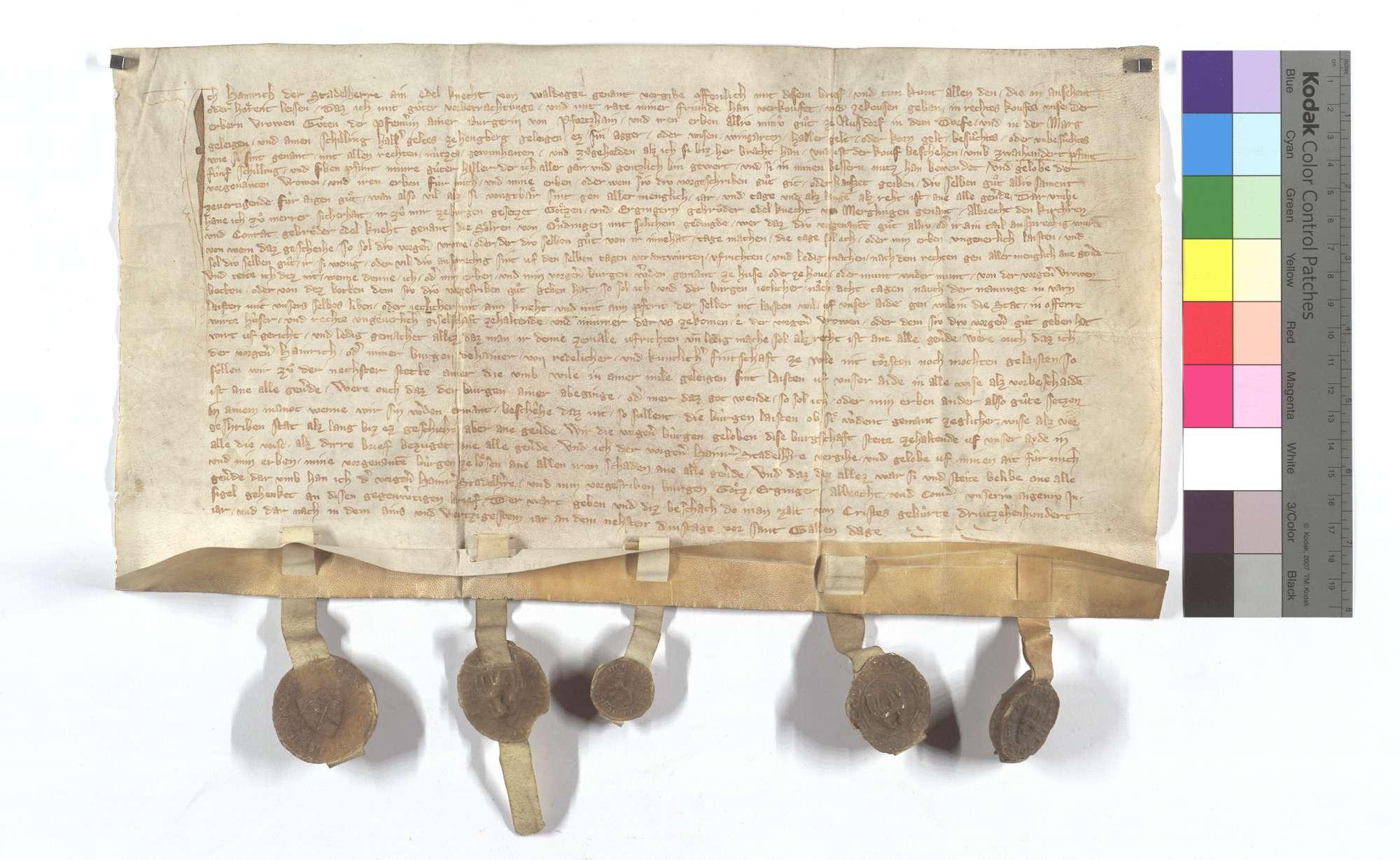 Heinrich der Stadelherr, genannt von Waldeck (Waldegge), verkauft all sein Gut in Nußdorf an Gutha Pfenner (Pfennerin) von Pforzheim., Text
