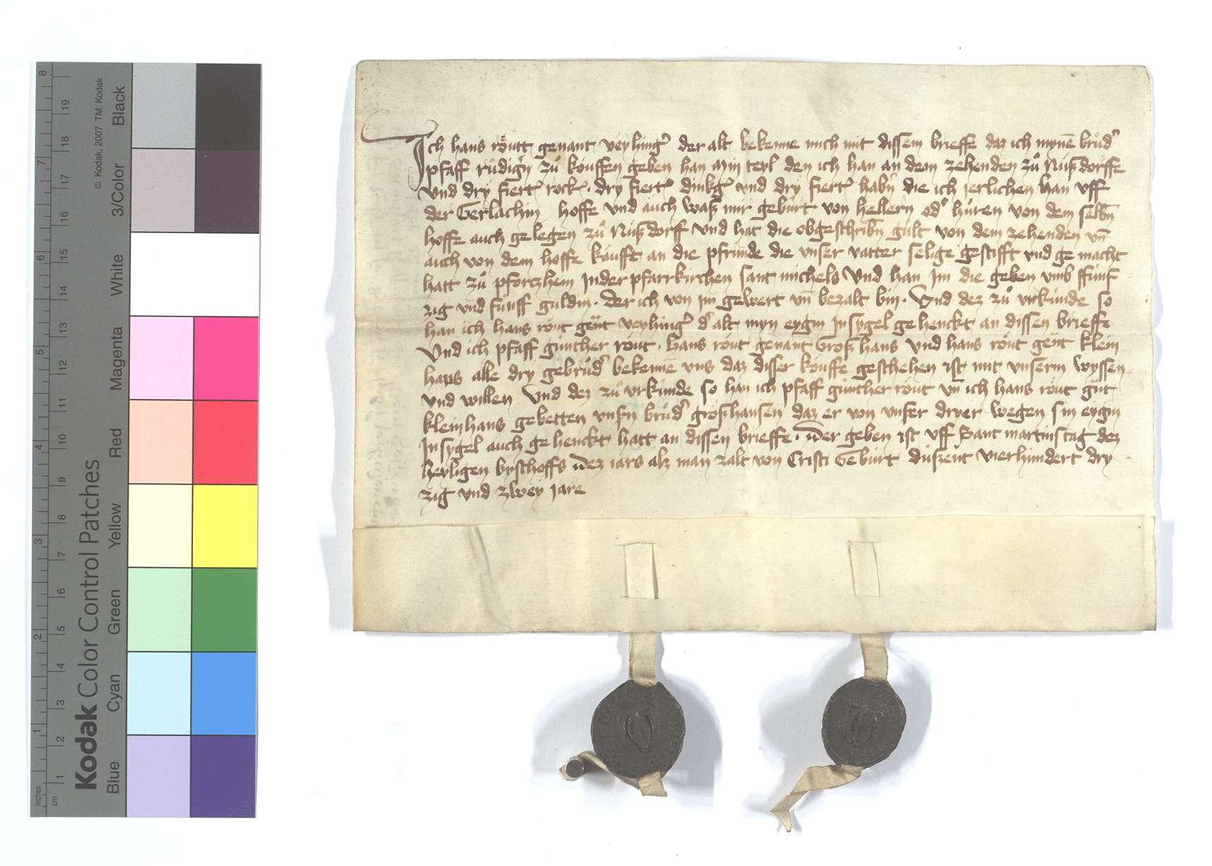 Hans Routts, genannt Vaihinger, Fertigung um seines Teils am Zehnten in Nußdorf und seine Heller- und Hühnergülten dort, die er seinem Bruder, Pfarrer Rüdiger, für 55 Gulden zu kaufen gegeben hat., Text