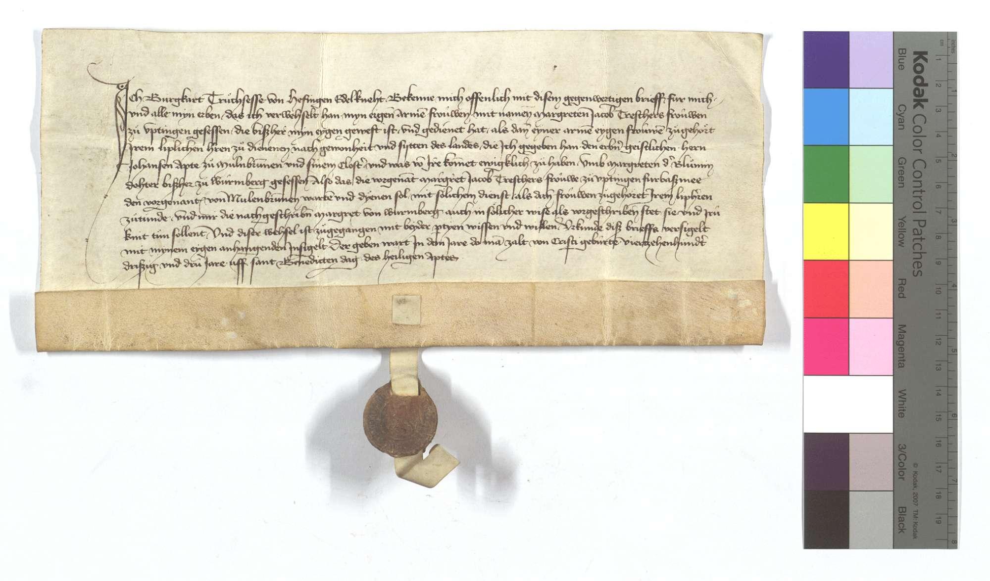 Burkard Truchsess von Höfingen (Hefingen) verkauft dem Kloster Maulbronn eine leibeigene Frau von Iptingen gegen eine andere von Wurmberg., Text