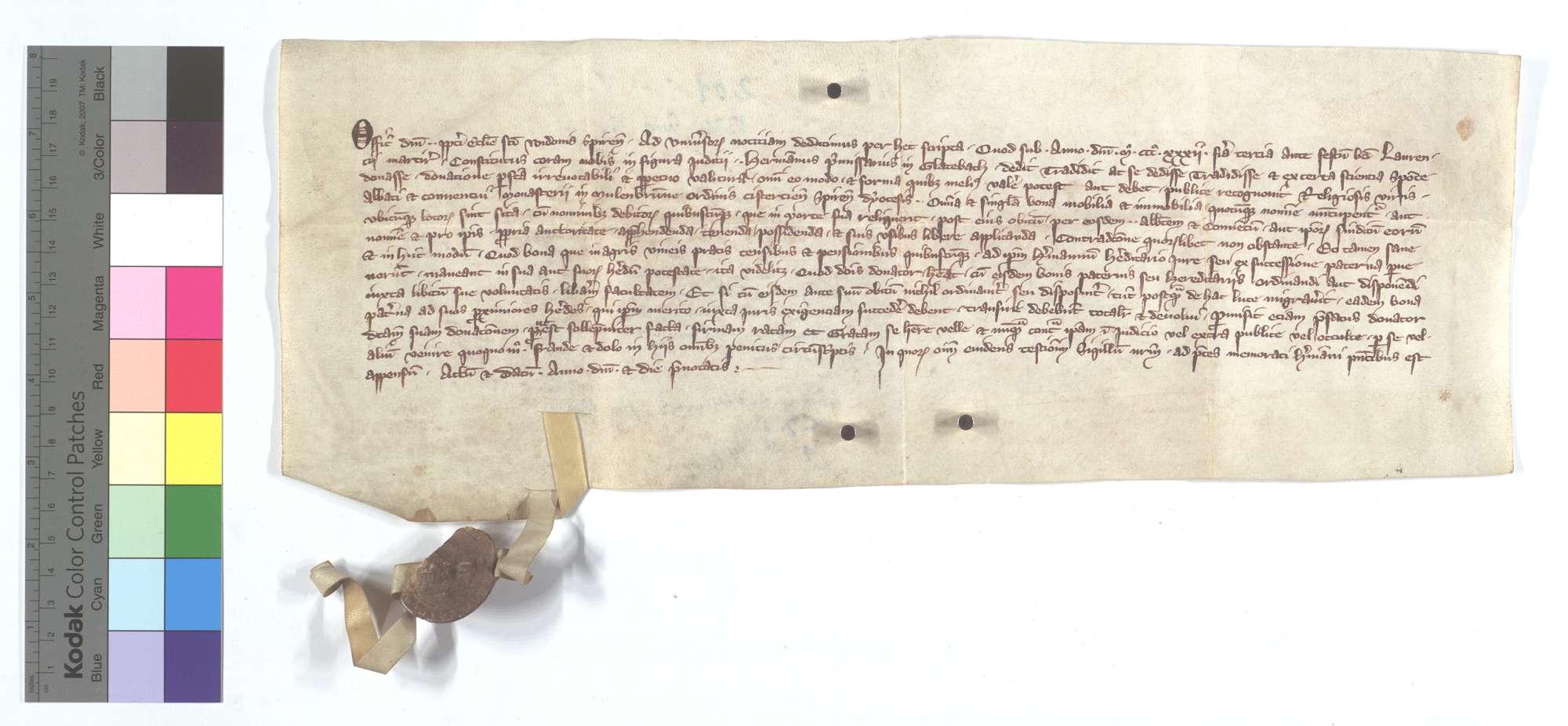 Hermann der Frühmesser in Glattbach vermacht dem Kloster Maulbronn all sein Gut nach seinem Tod., Text