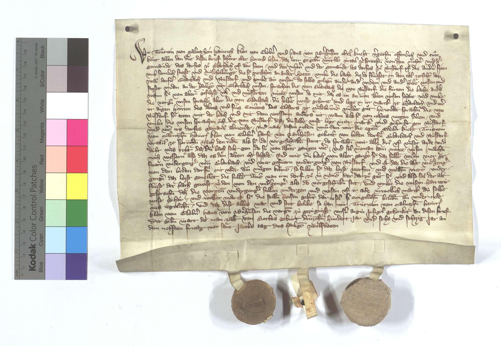 Vereinbarung (Richtung) zwischen den Kommunen Glattbach und Nußdorf wegen des Bachs und der Wässerung., Text