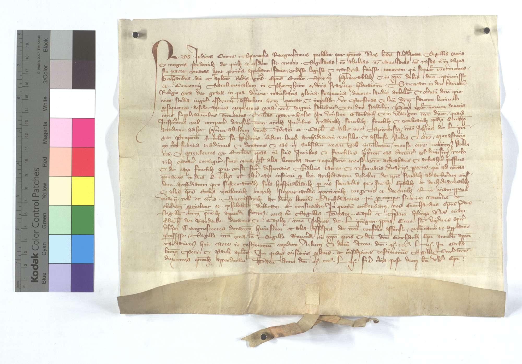 Bischof Gerhard von Speyer schenkt dem Frauenkloster in Pforzheim die Kirche in Wüstenglattbach und Eutingen., Text