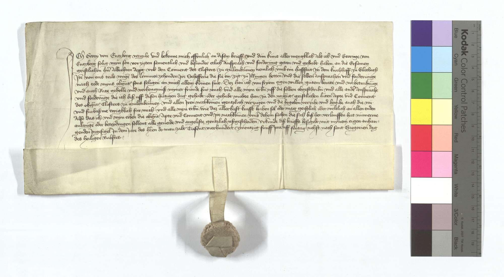 Georg von Enzberg verzichtet auf seine Anforderung, die er an das Kloster Maulbronn wegen einer Hofstatt in dem Kirchhof in Glattbach und eines Teils des Lämmerzehnten in Illingen gehabt hat., Text