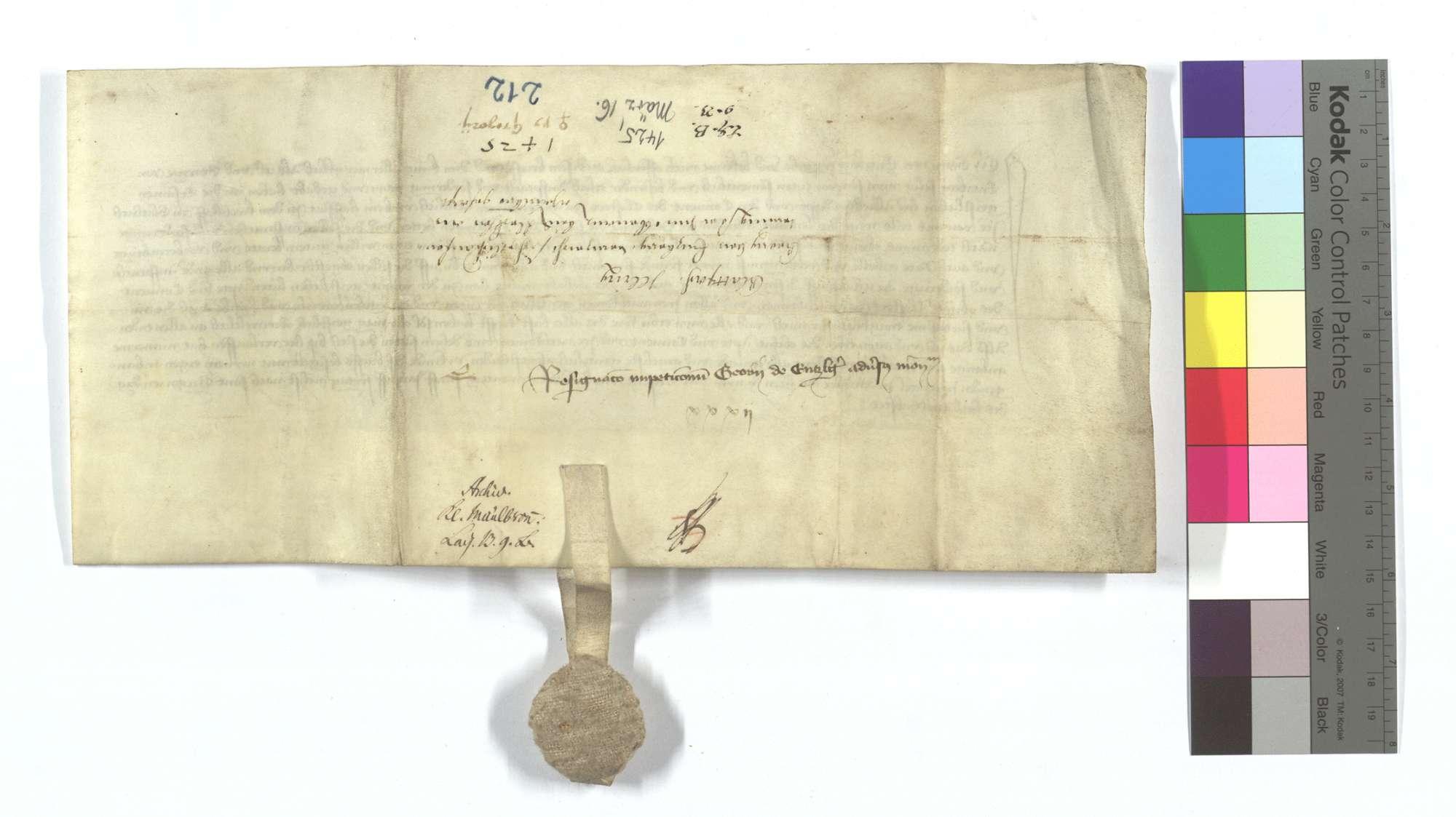 Georg von Enzberg verzichtet auf seine Anforderung, die er an das Kloster Maulbronn wegen einer Hofstatt in dem Kirchhof in Glattbach und eines Teils des Lämmerzehnten in Illingen gehabt hat., Rückseite