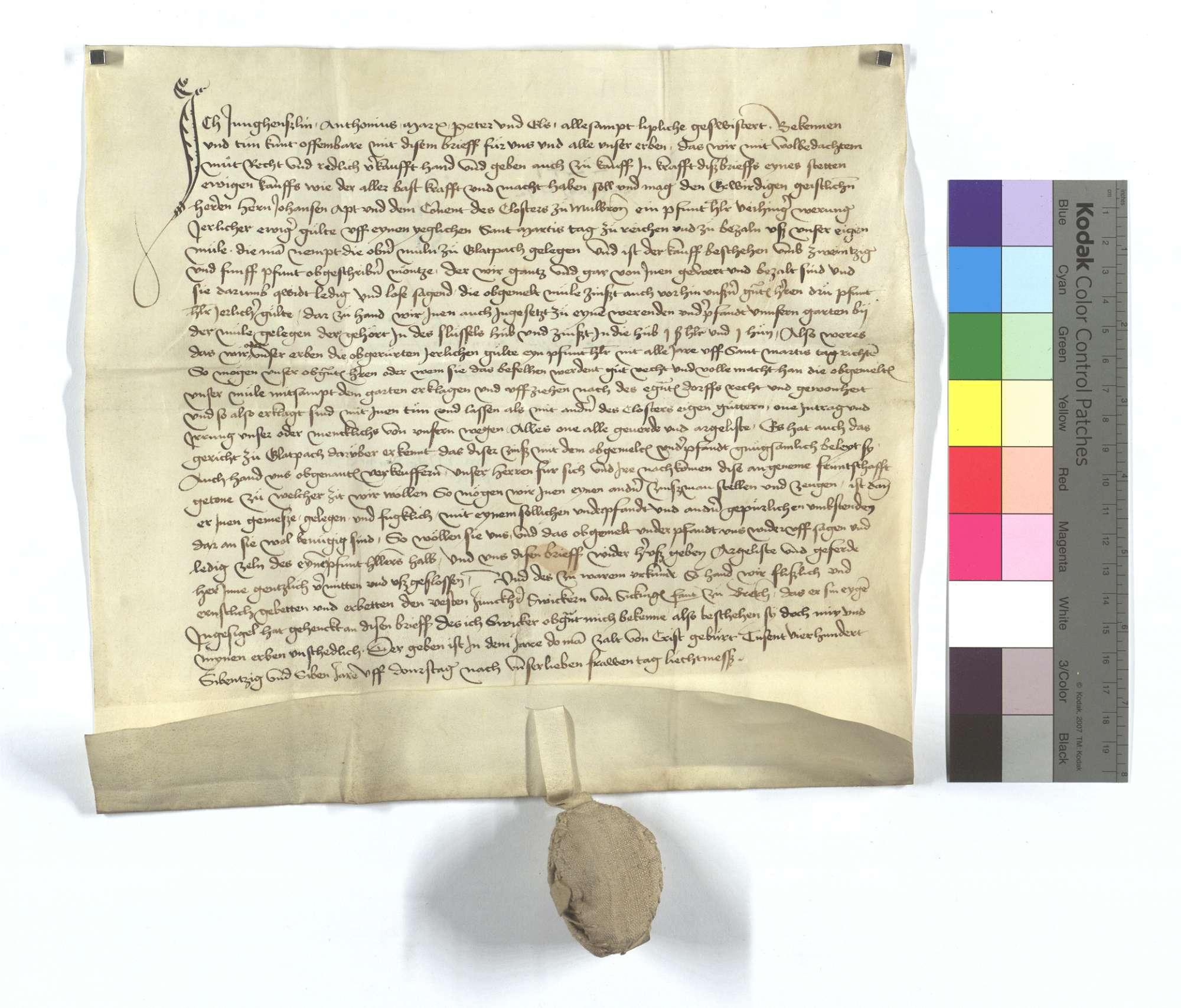 Fertigung um 1 Pfund Heller jährliche Gült aus der Oberen Mühle in Glattbach, die das Kloster Maulbronn käuflich an sich gebracht hat., Text
