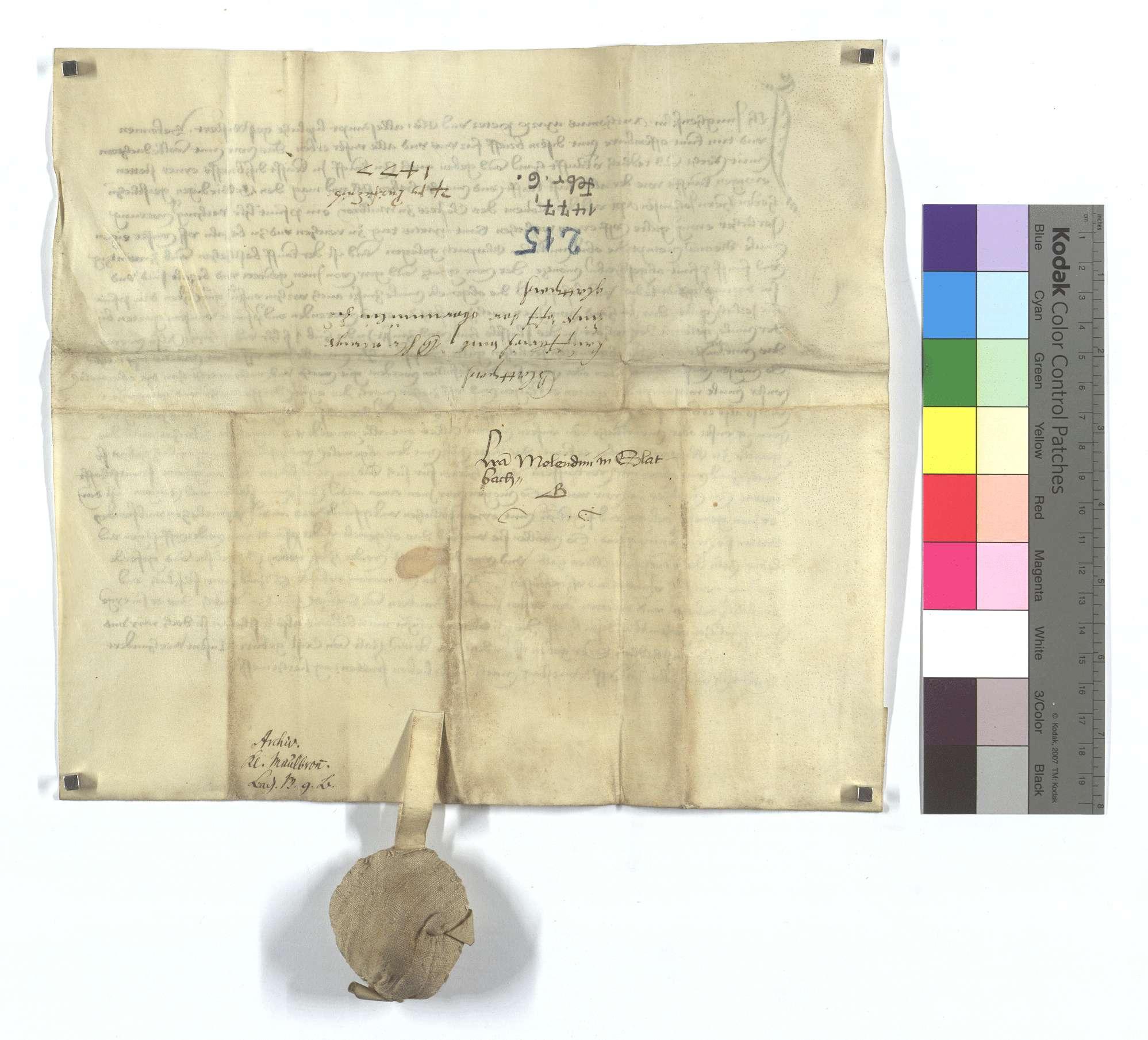 Fertigung um 1 Pfund Heller jährliche Gült aus der Oberen Mühle in Glattbach, die das Kloster Maulbronn käuflich an sich gebracht hat., Rückseite