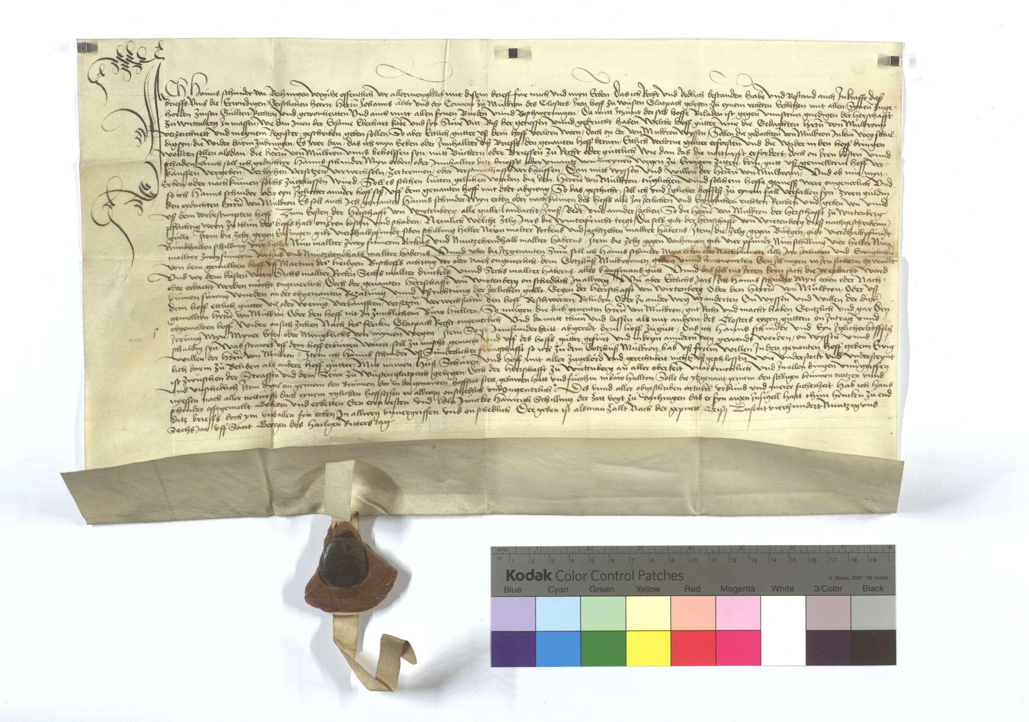 Bestandsrevers Hans Schniders von Vaihingen um des Klosters Maulbronn Hof in Wüstenglattbach., Text