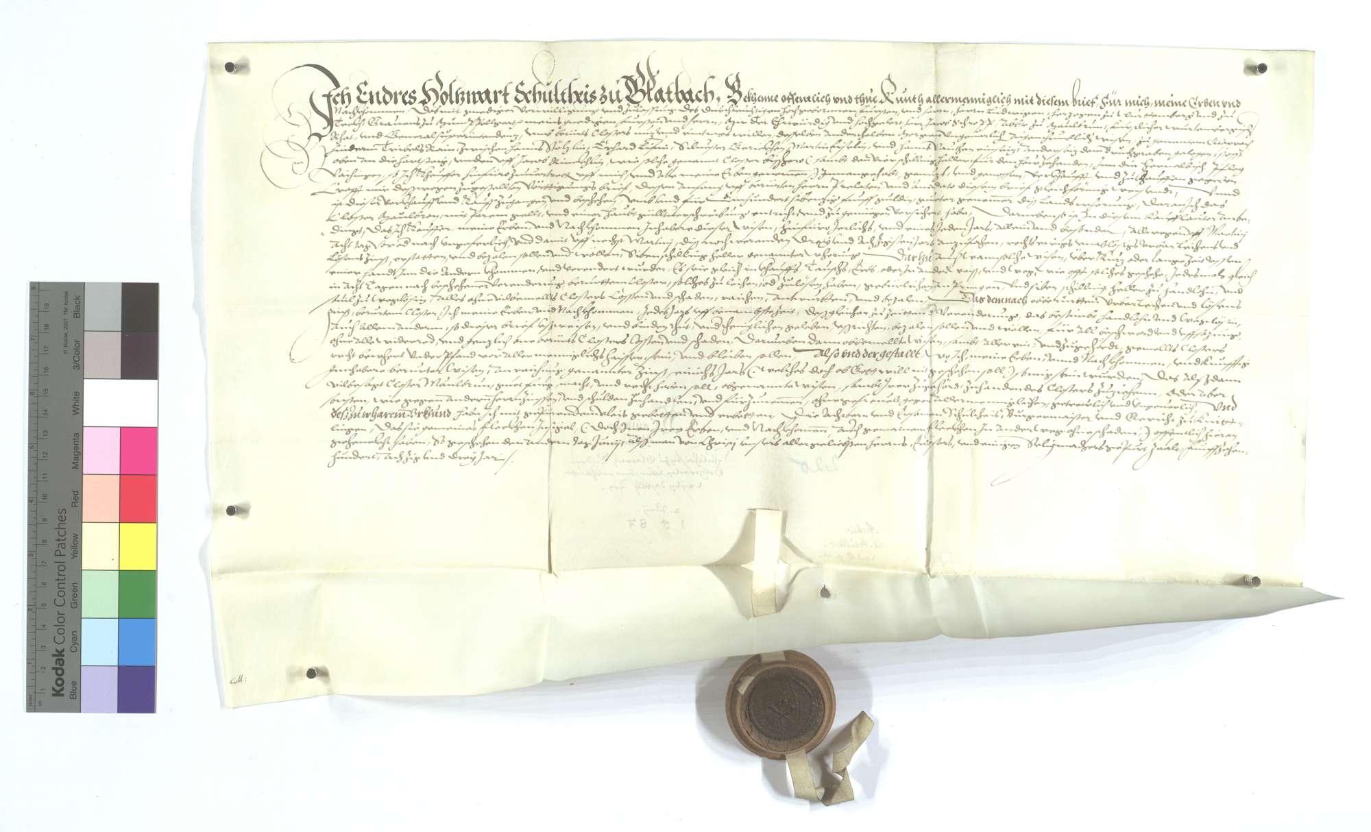 Versprechung Endris Holzwarts, des Schultheißen von Glattbach, wegen der von dem Kloster Maulbronn erkauften 1 1/2 Morgen Wiese dort., Text
