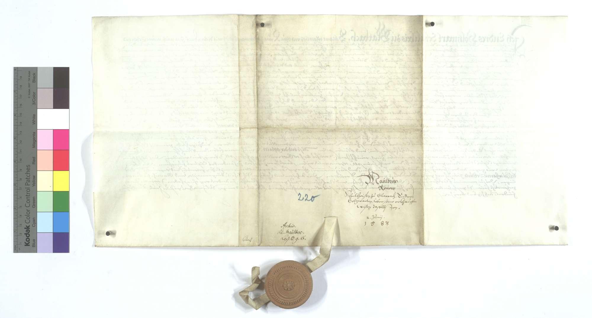 Versprechung Endris Holzwarts, des Schultheißen von Glattbach, wegen der von dem Kloster Maulbronn erkauften 1 1/2 Morgen Wiese dort., Rückseite